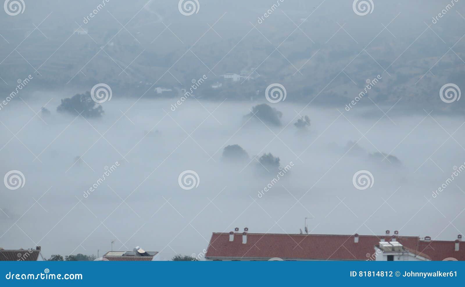 Туманный день в долине вне деревни