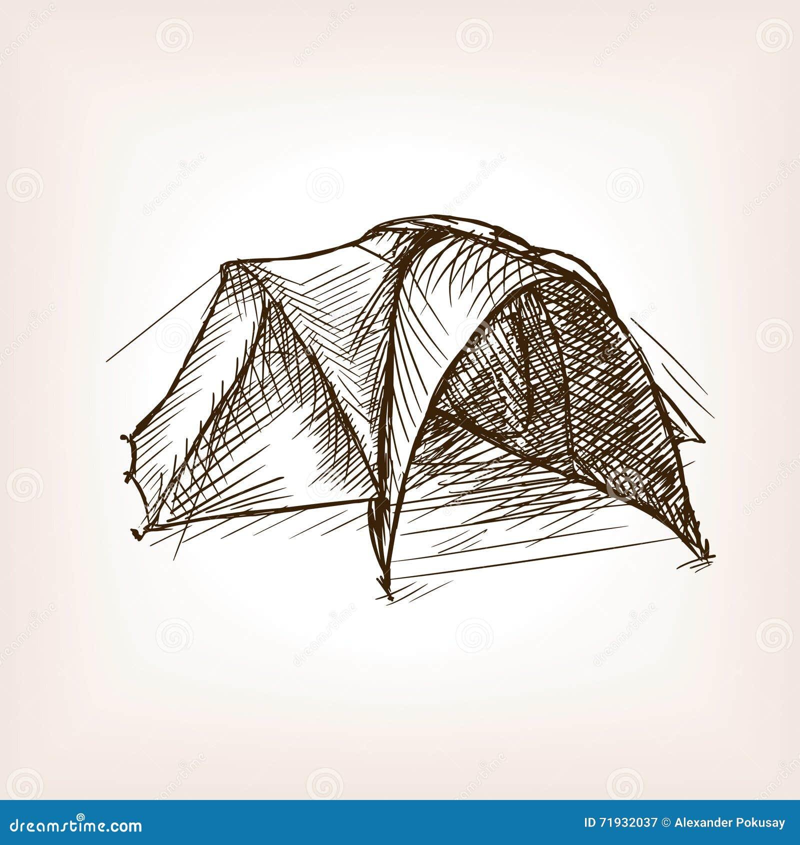 Туристская иллюстрация стиля эскиза шатра