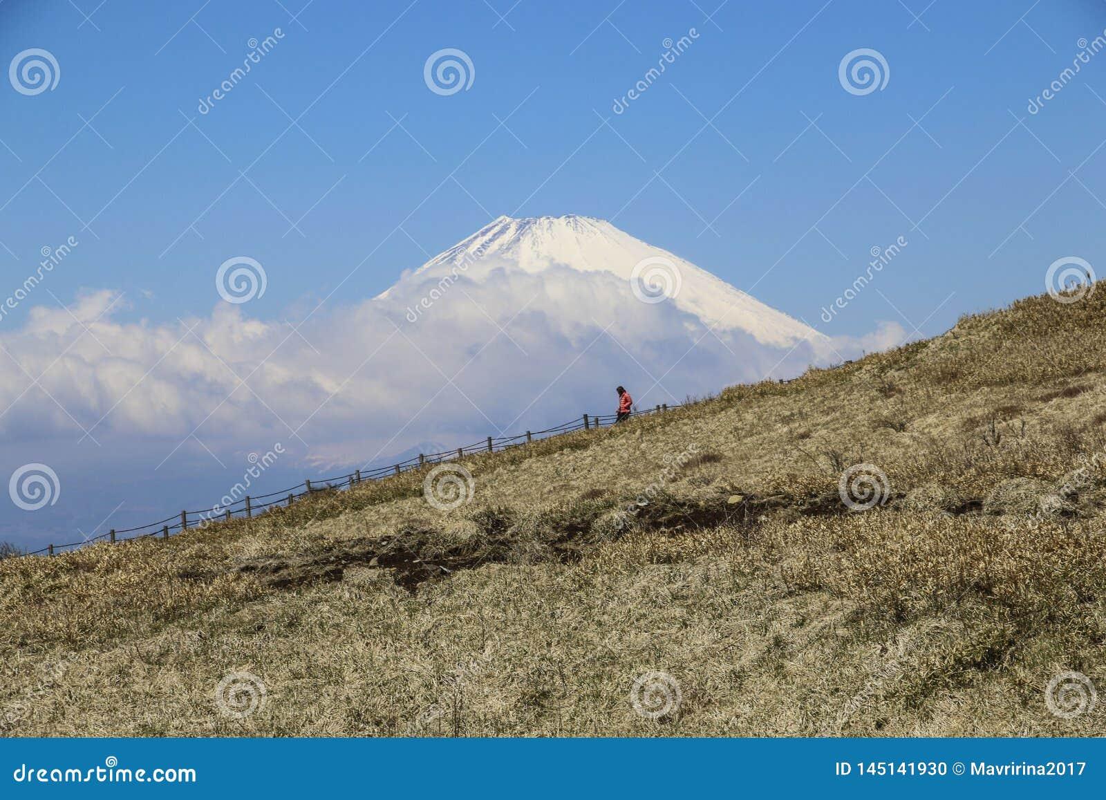 Туристский приходя спуск от горы Komagatake на красивом виде предпосылки в