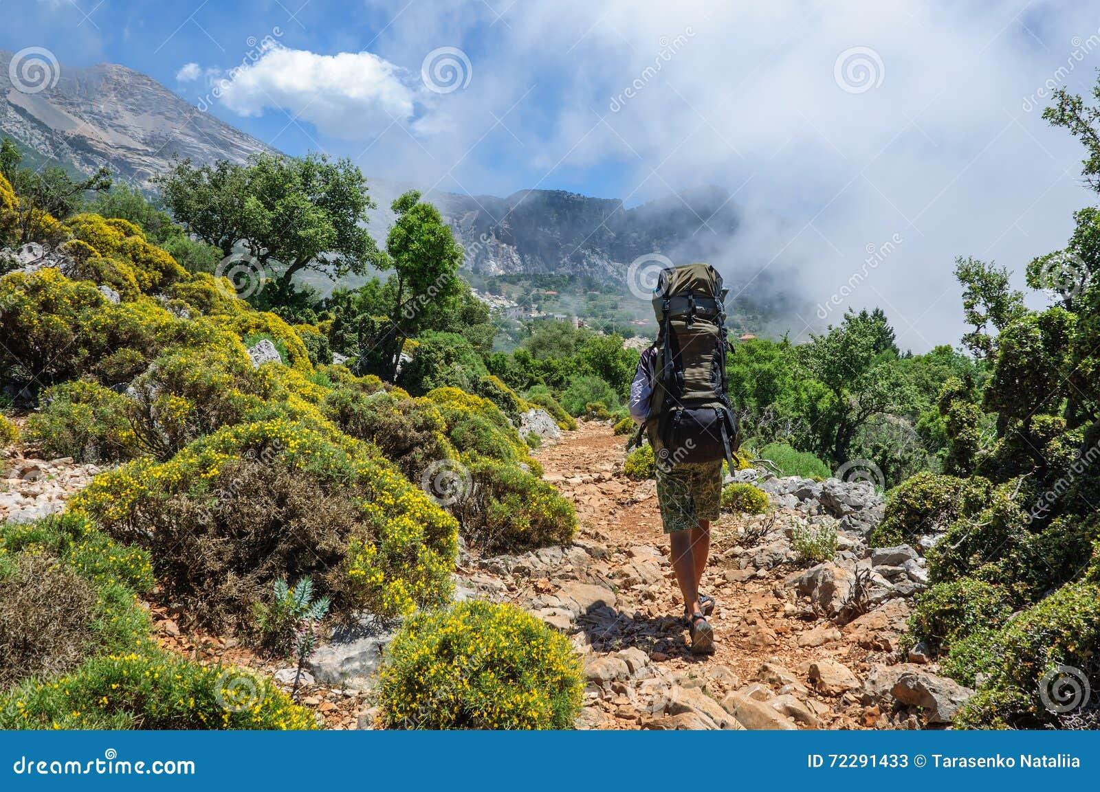 Download Турист идя вдоль следа в горах Стоковое Изображение - изображение насчитывающей высоко, дорога: 72291433