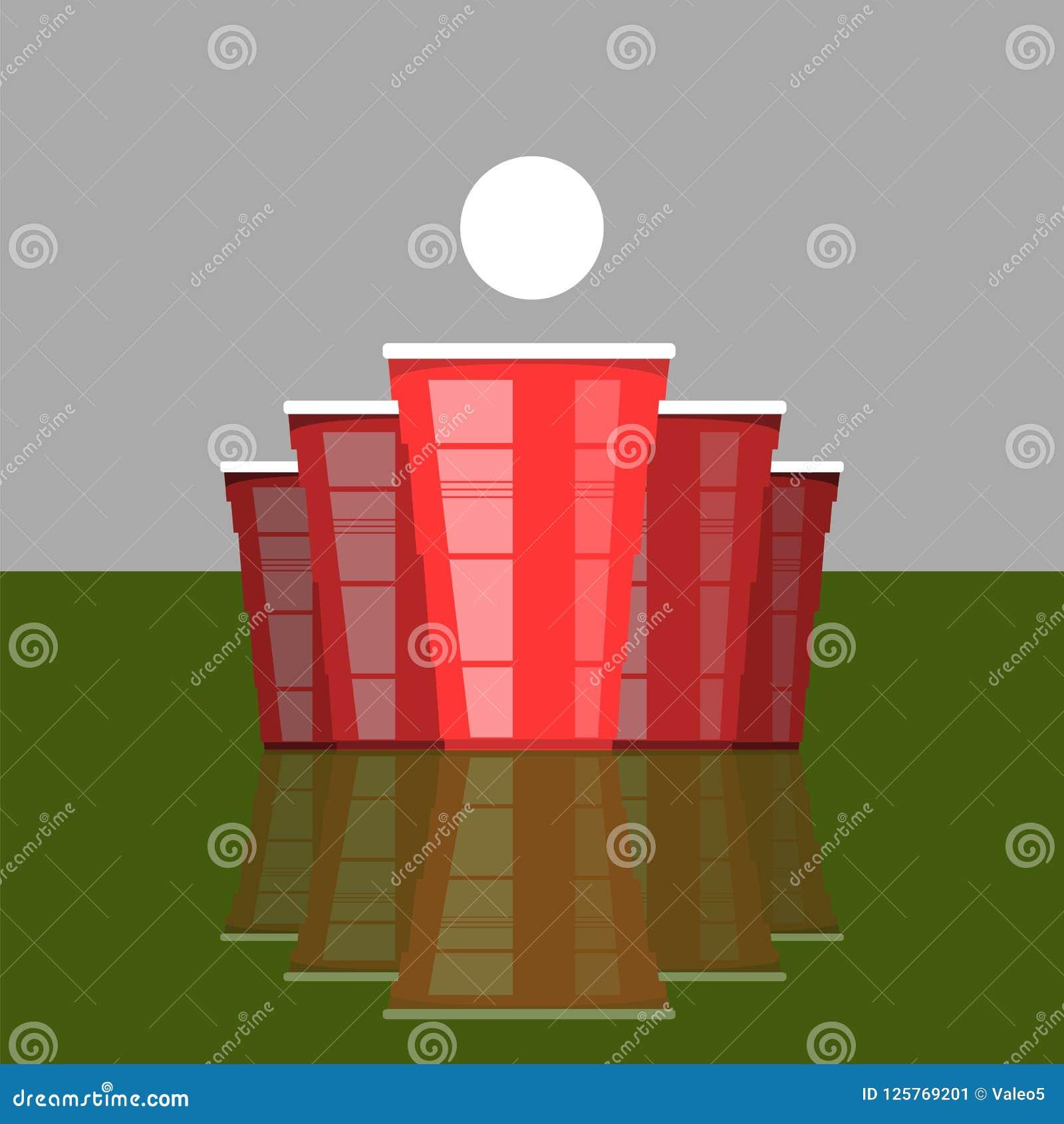 Турнир pong пива Красные чашки и белый теннисный мяч Забавная игра для партии Традиционное выпивая время