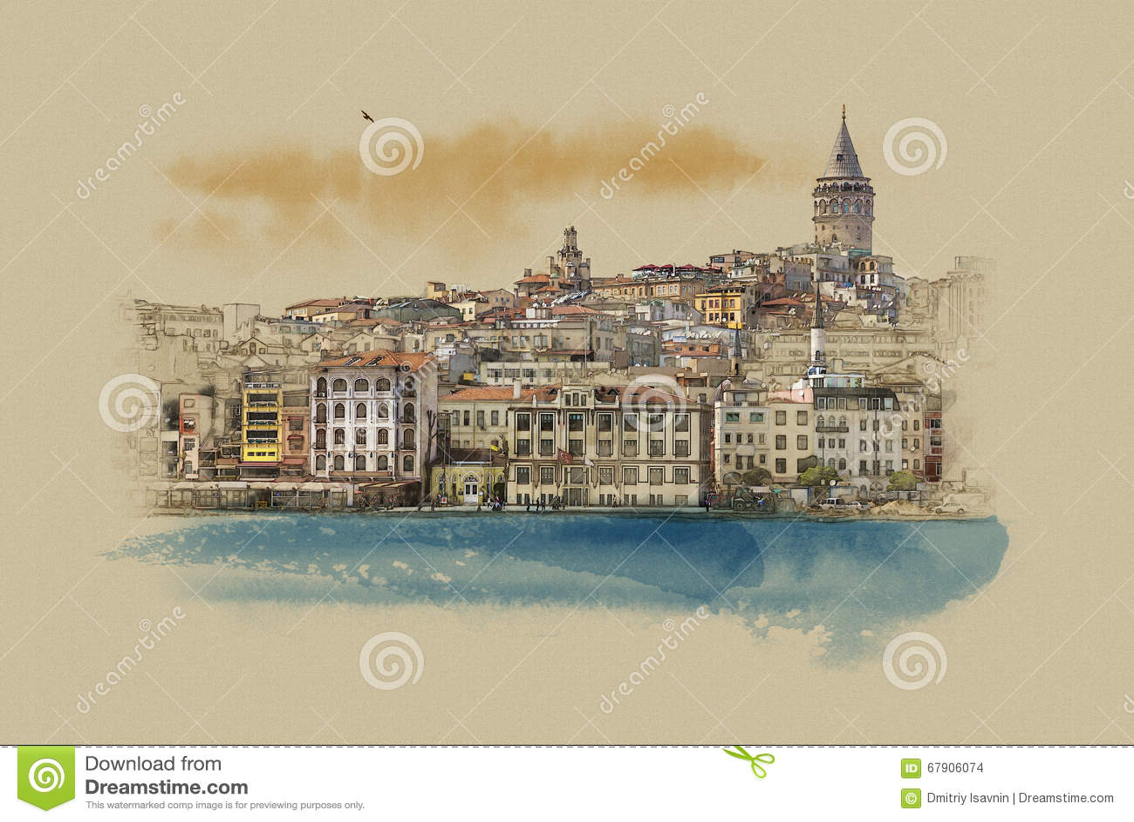 Турция Стамбул, графики на старой бумаге
