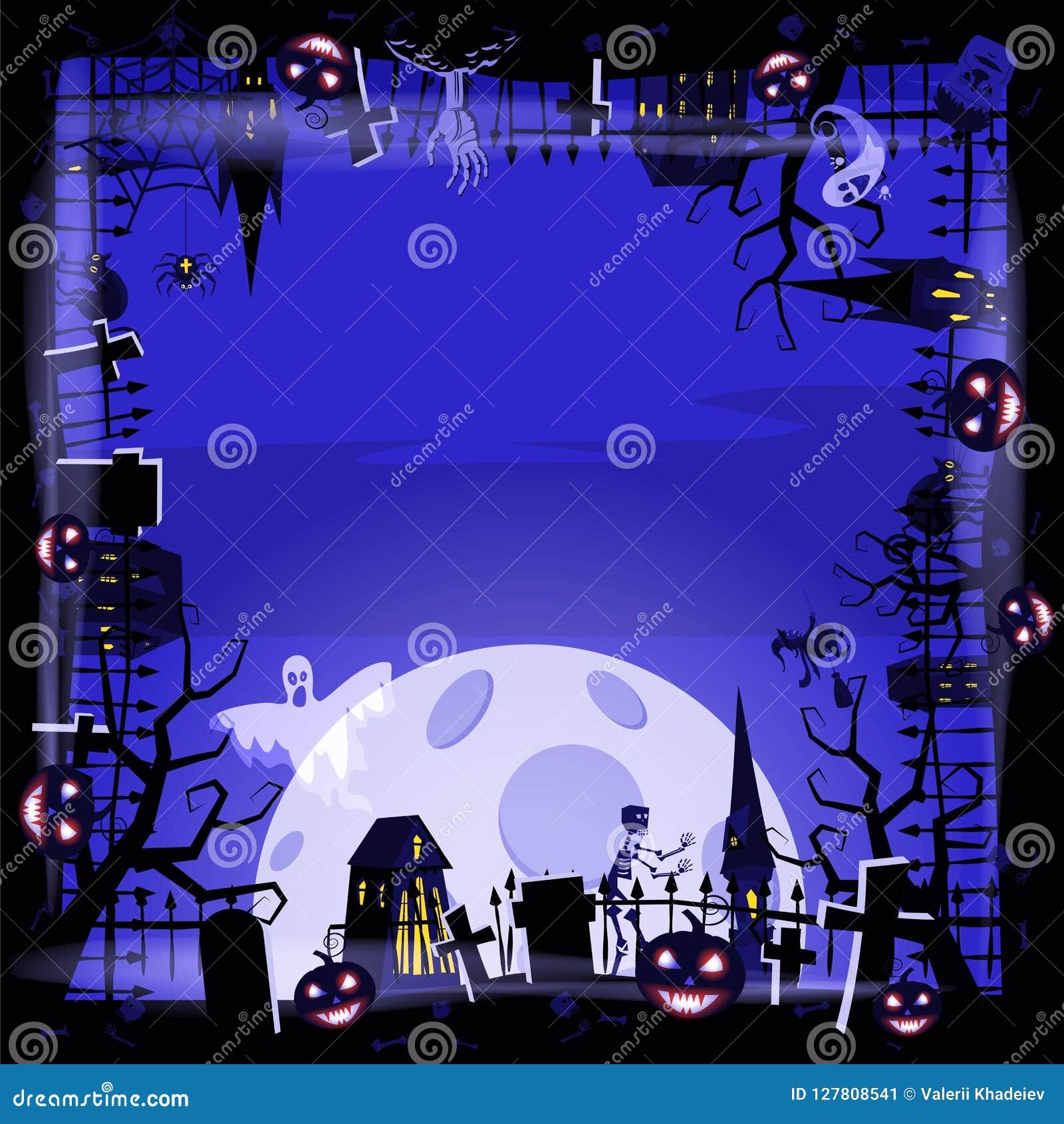 Тыква праздника хеллоуина шаблона, кладбище, черный покинутый замок, атрибуты праздника всех Святых, призрака