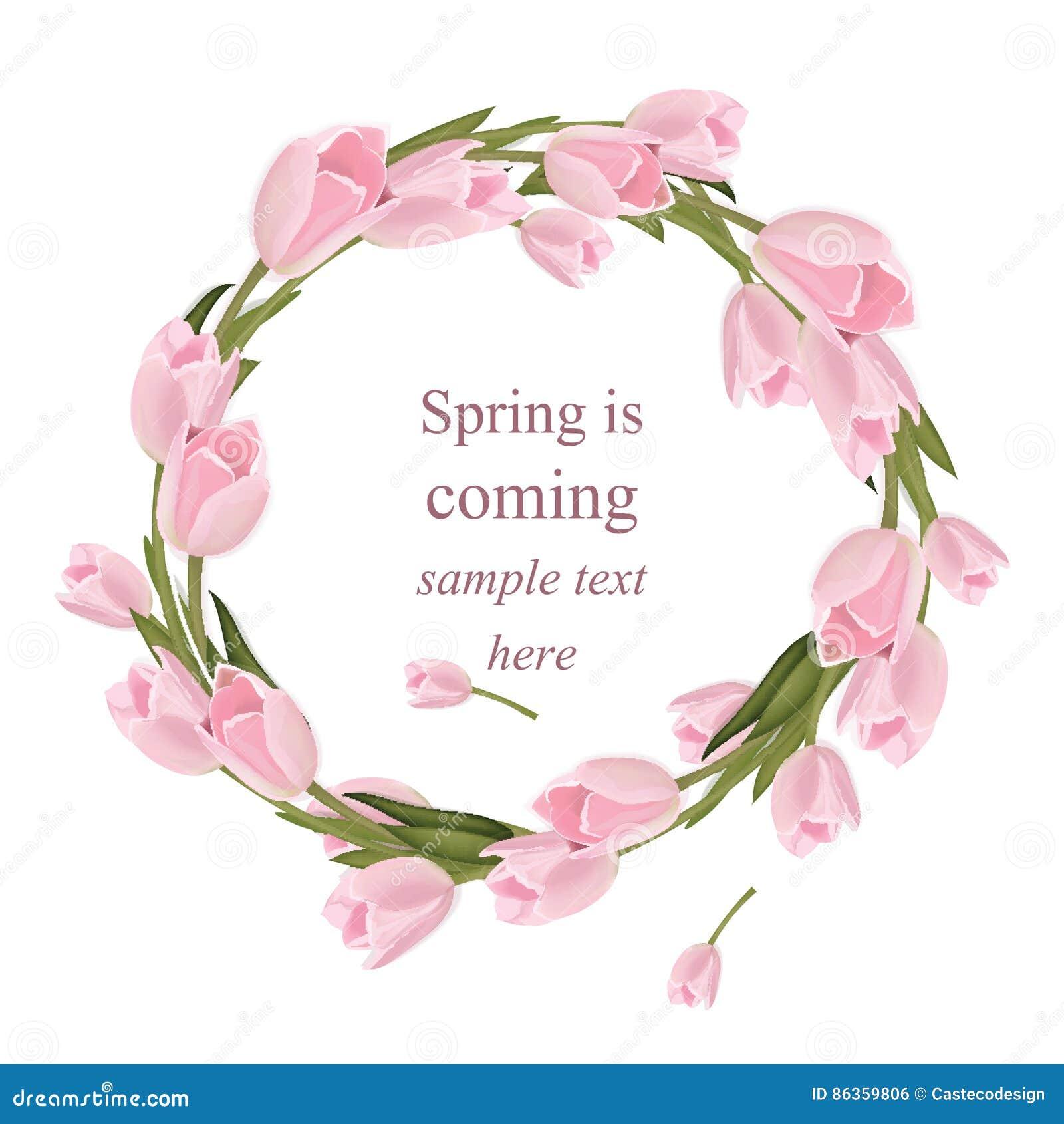 Тюльпан цветет поздравительная открытка венка Весна приходя иллюстрация вектора оформления акварели реалистическая