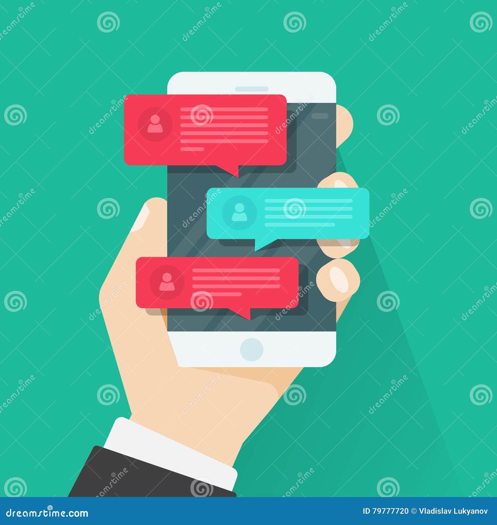 Уведомления сообщения болтовни мобильного телефона, беседуя, концепция онлайн говорить