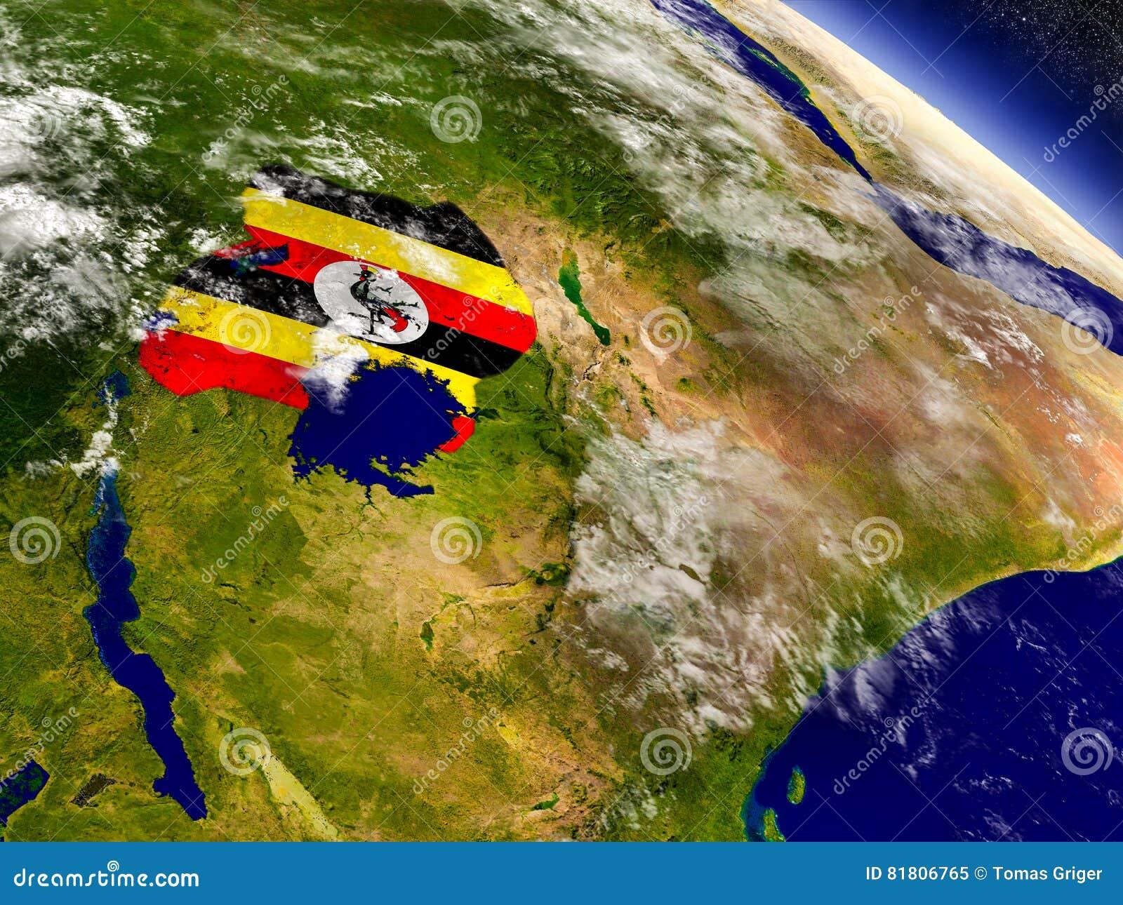 Уганда с врезанным флагом на земле