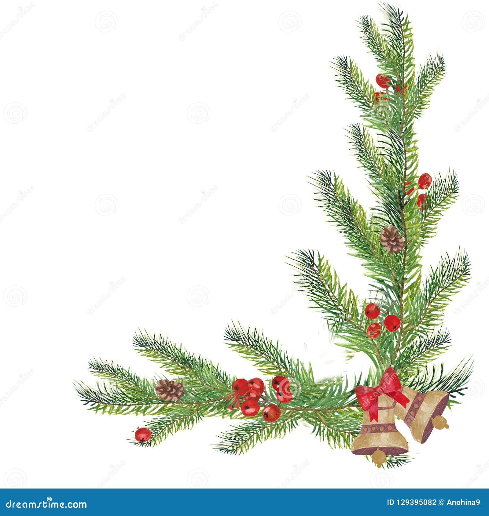 Угол рождества акварели декоративный с ветвями и колоколами ели