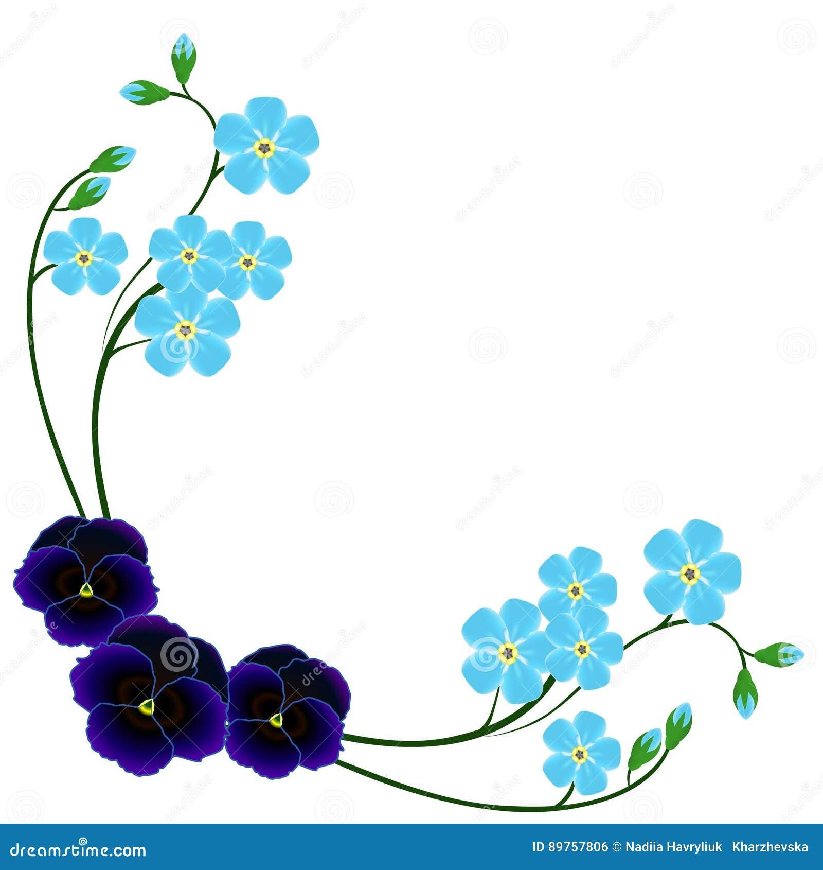 Угол с синью забывает меня не цветки и pansies