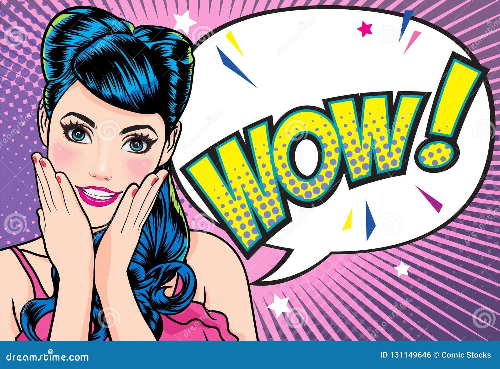 Удивленная сторона женщины с открытым ртом с розовыми губами со стилем комиксов искусства попа предпосылки точки