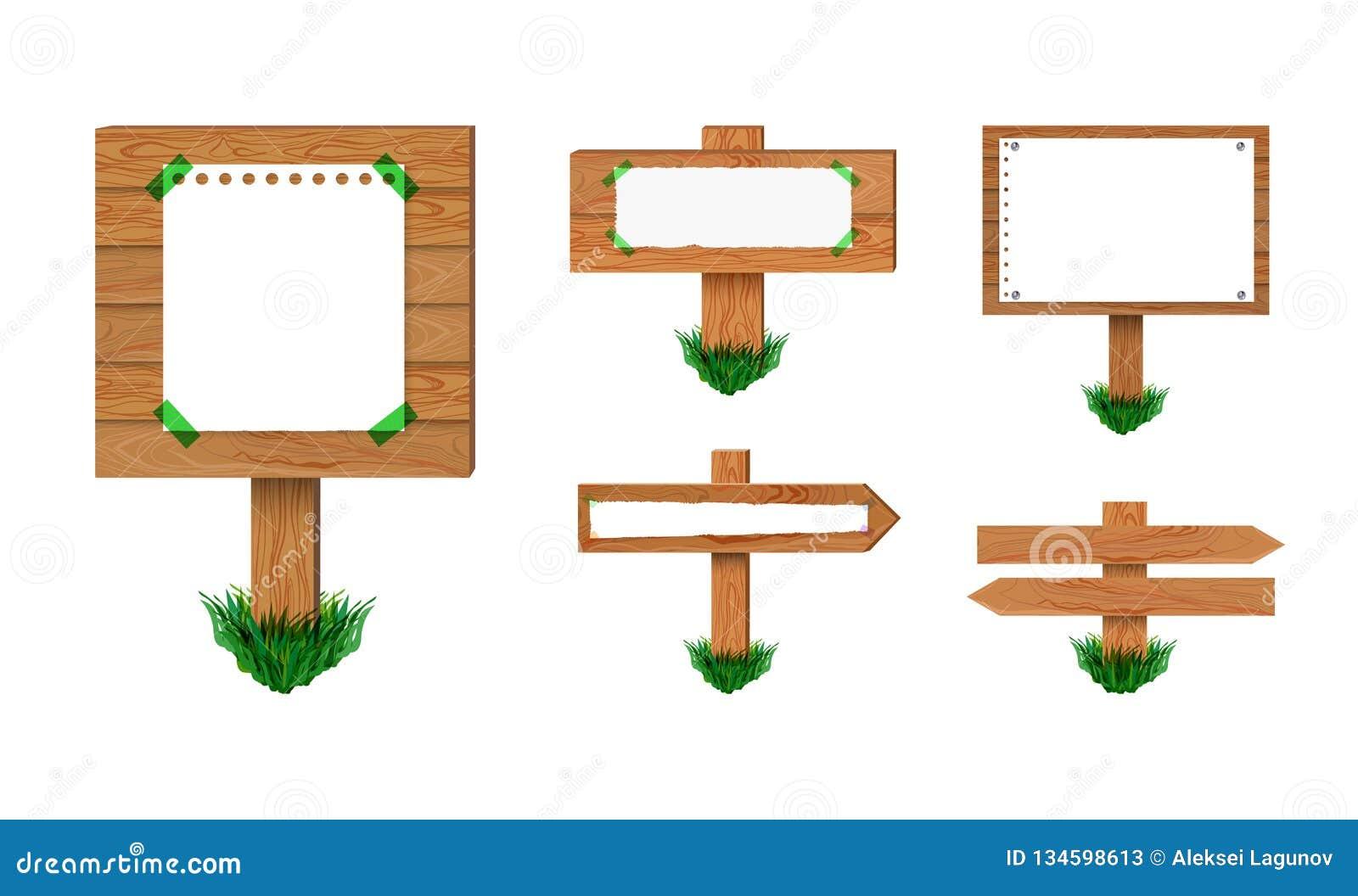 Указатели набор вектора деревянные, изолированный на белом собрании предпосылки ретро знаков