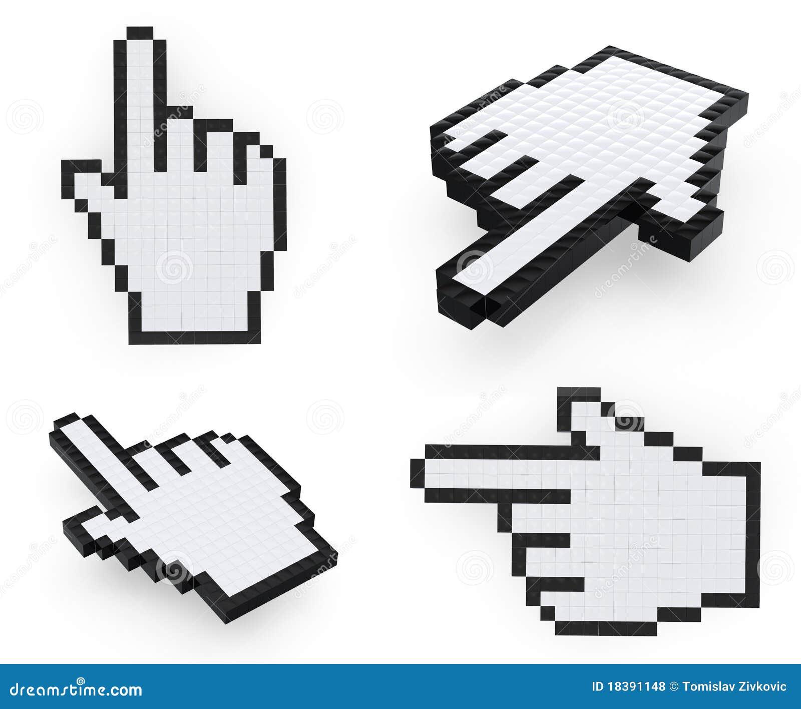 указатели руки pixelated мышью