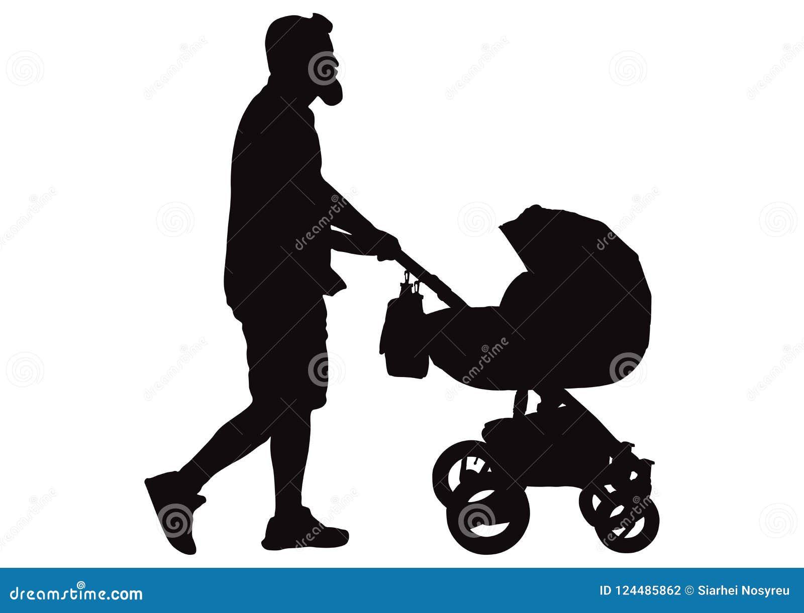 Укомплектуйте личным составом отца идя с силуэтом детской дорожной коляски, вектором