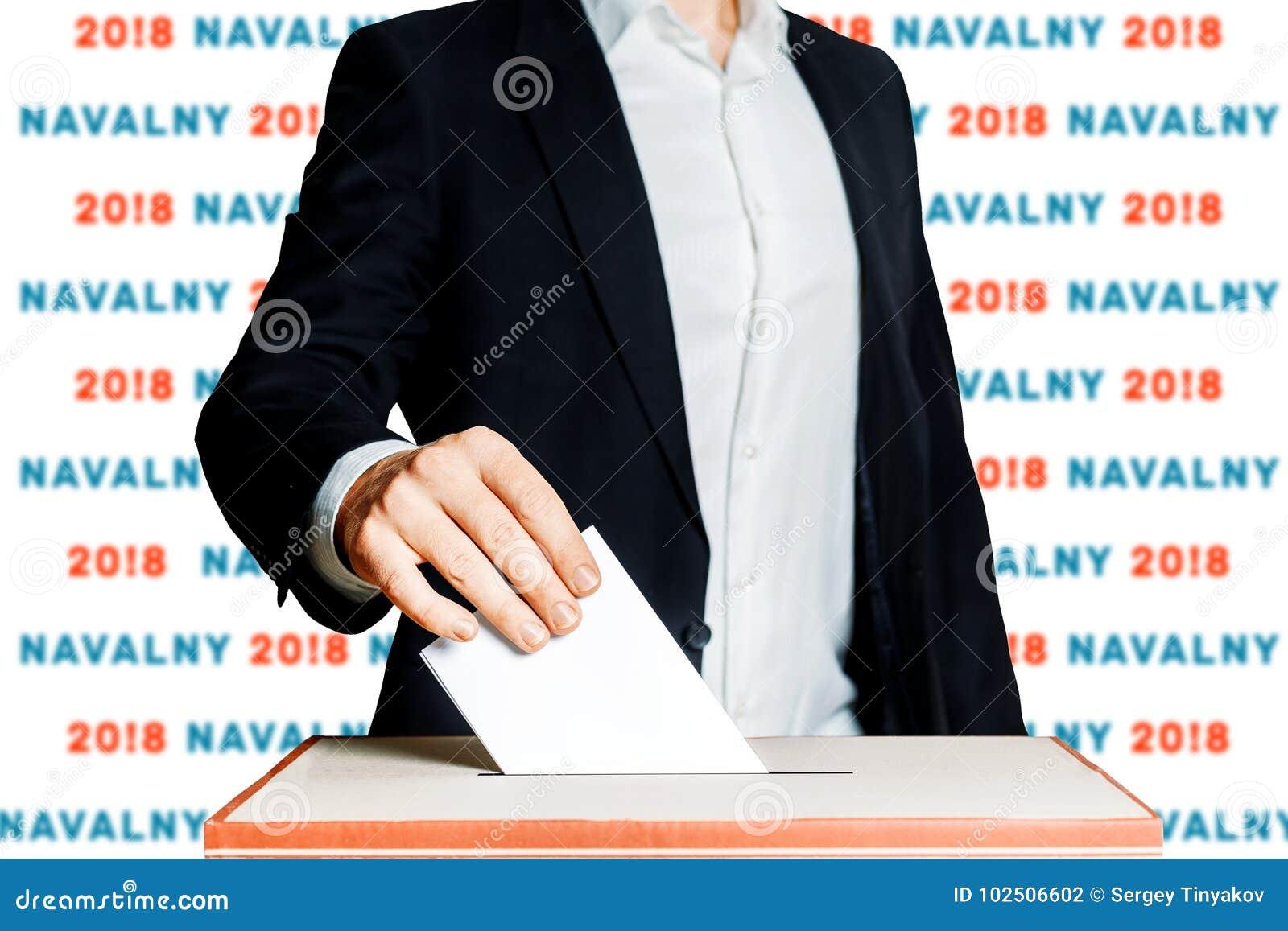 Укомплектуйте личным составом установку голосования в голосуя коробку Избрание демократии в концепции России Navalny