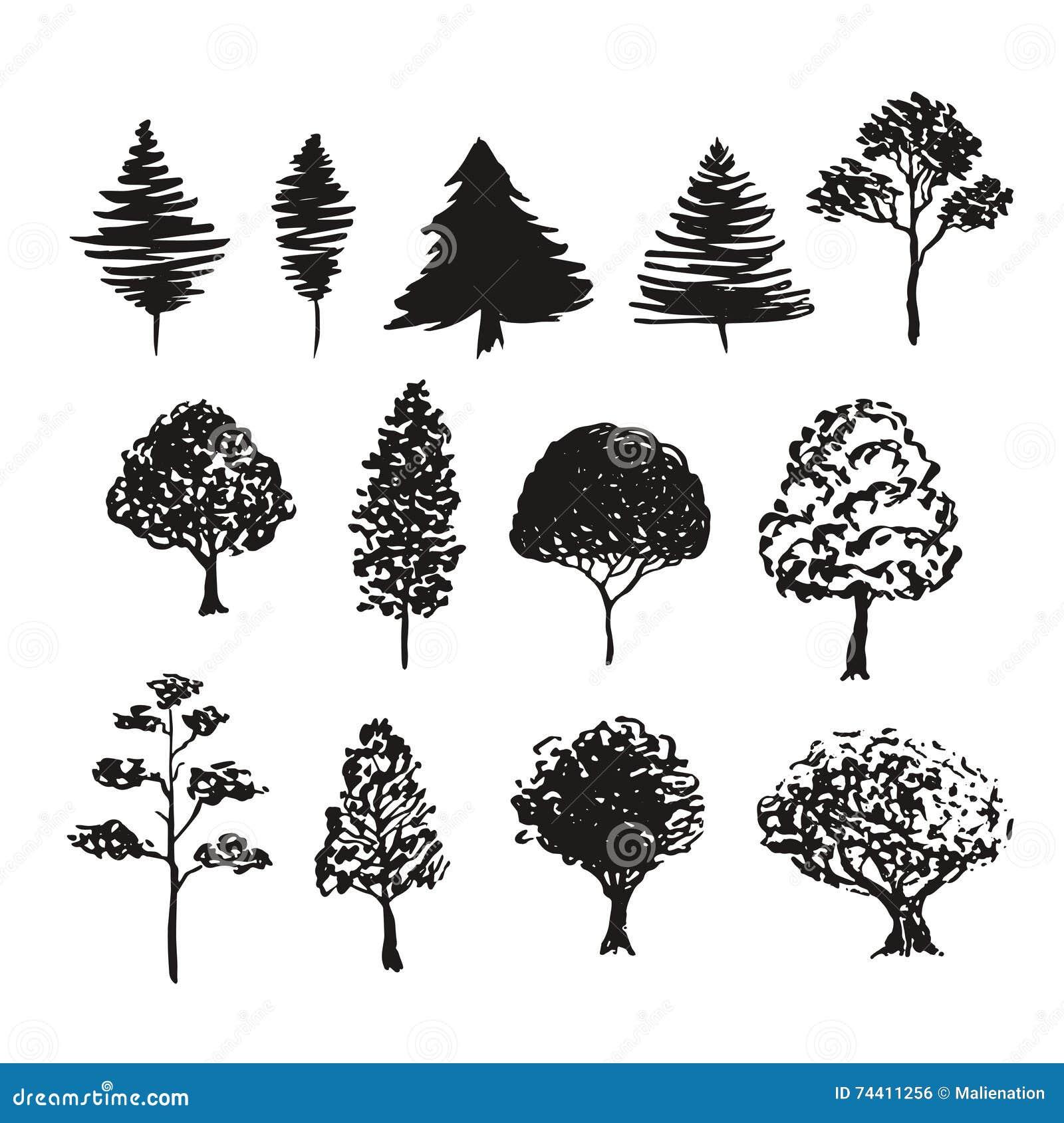 нарисованные деревья картинки