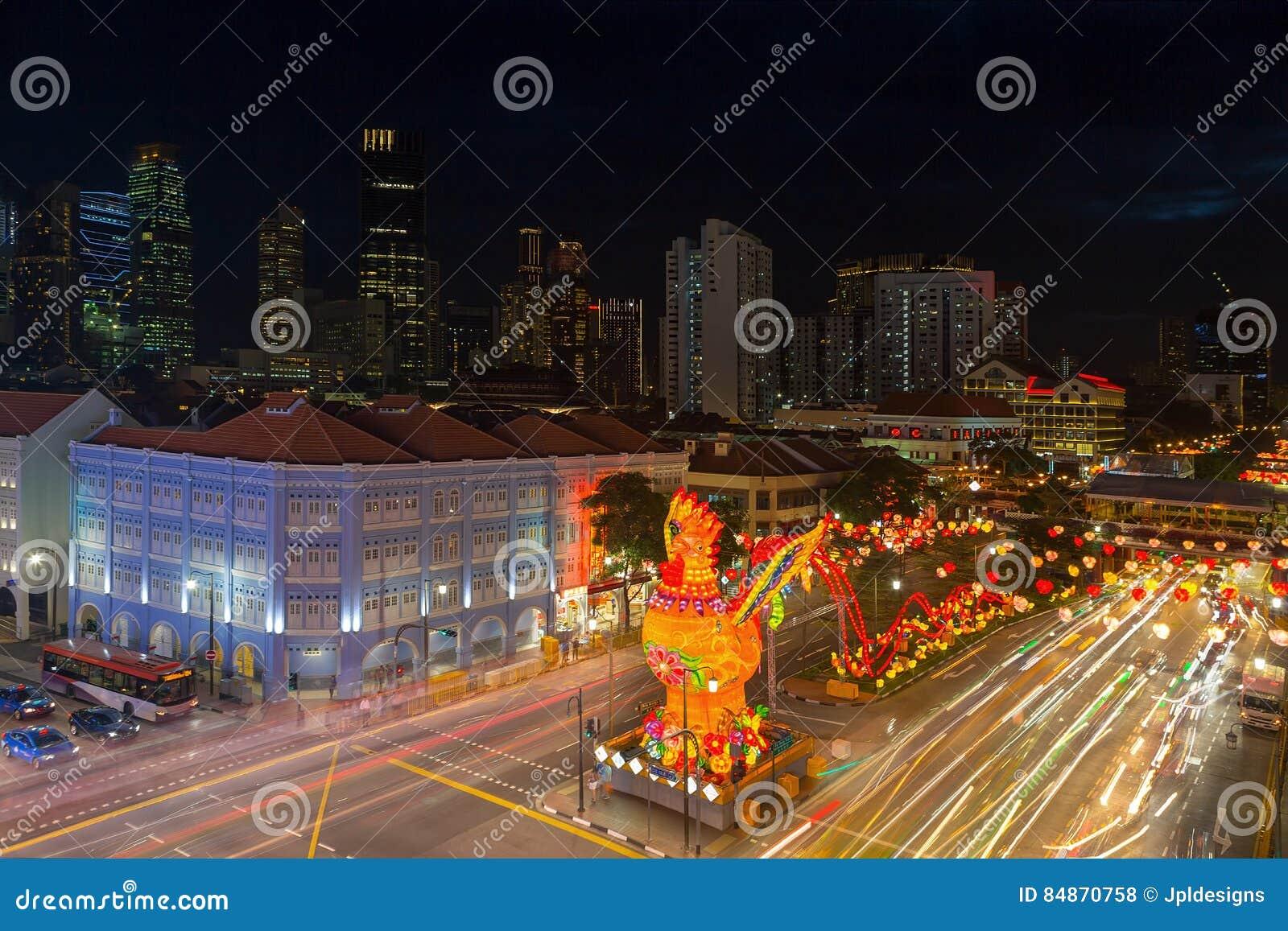 Украшение Нового Года китайца Сингапура Чайна-тауна 2017
