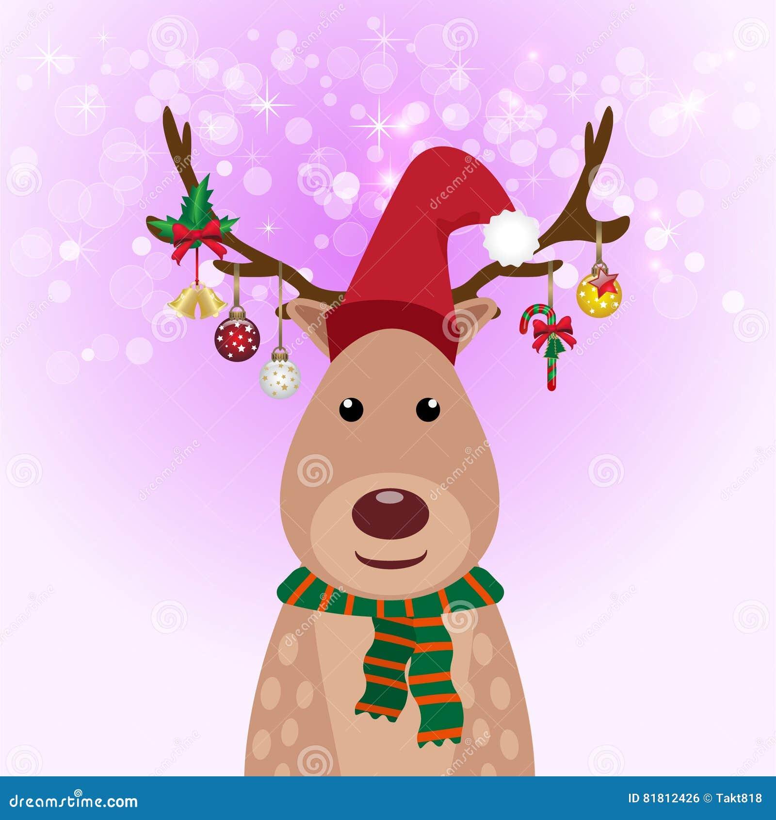 Украшение шарика оленей и рождества, предпосылка зарева