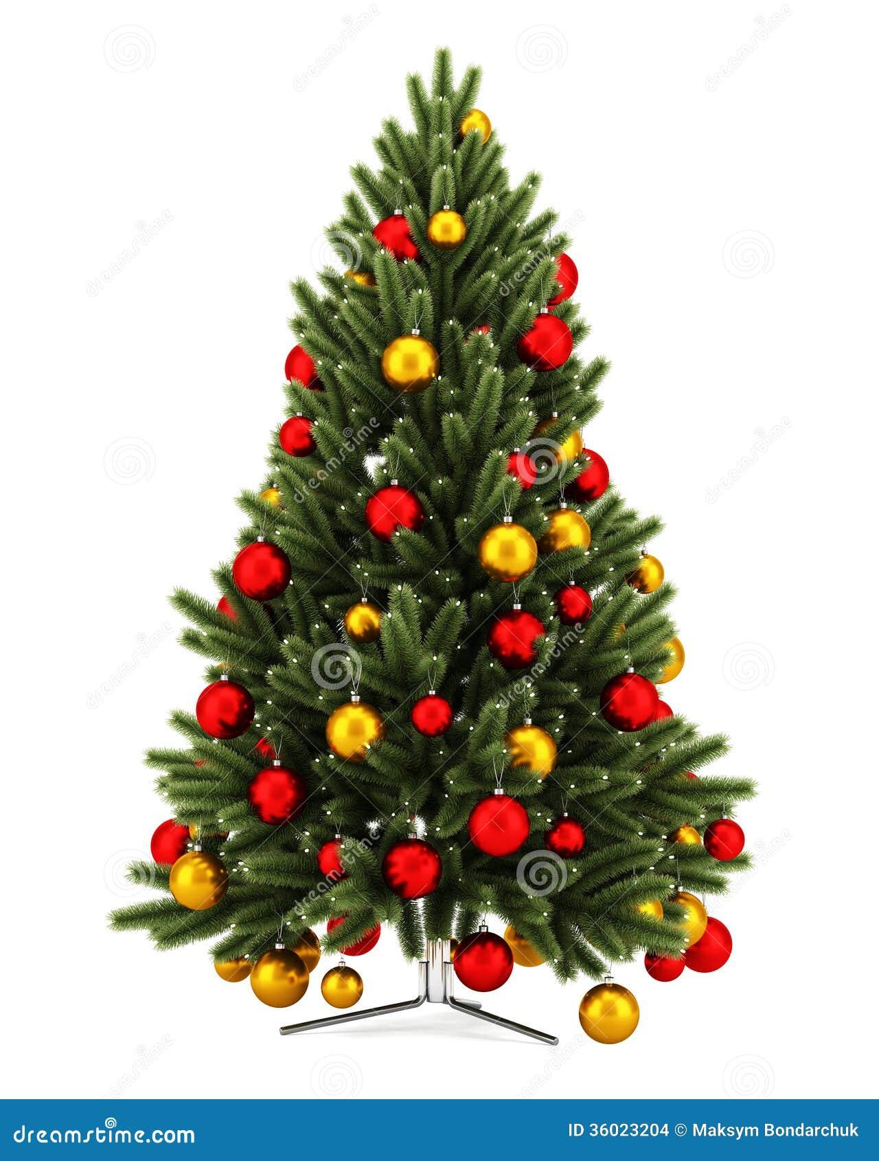 Украшенная рождественская елка изолированная на белизне