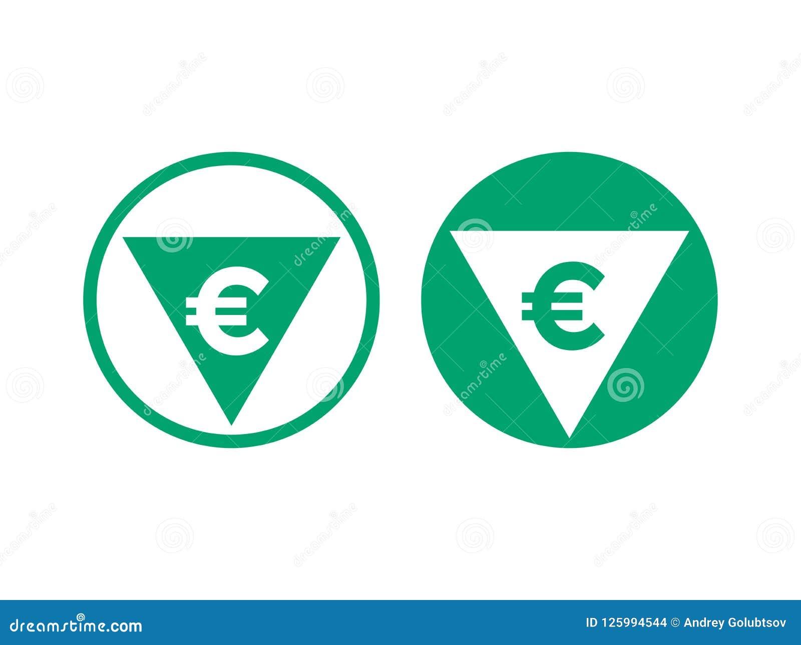 Уменшение евро себестоимоста и растет значок вектора