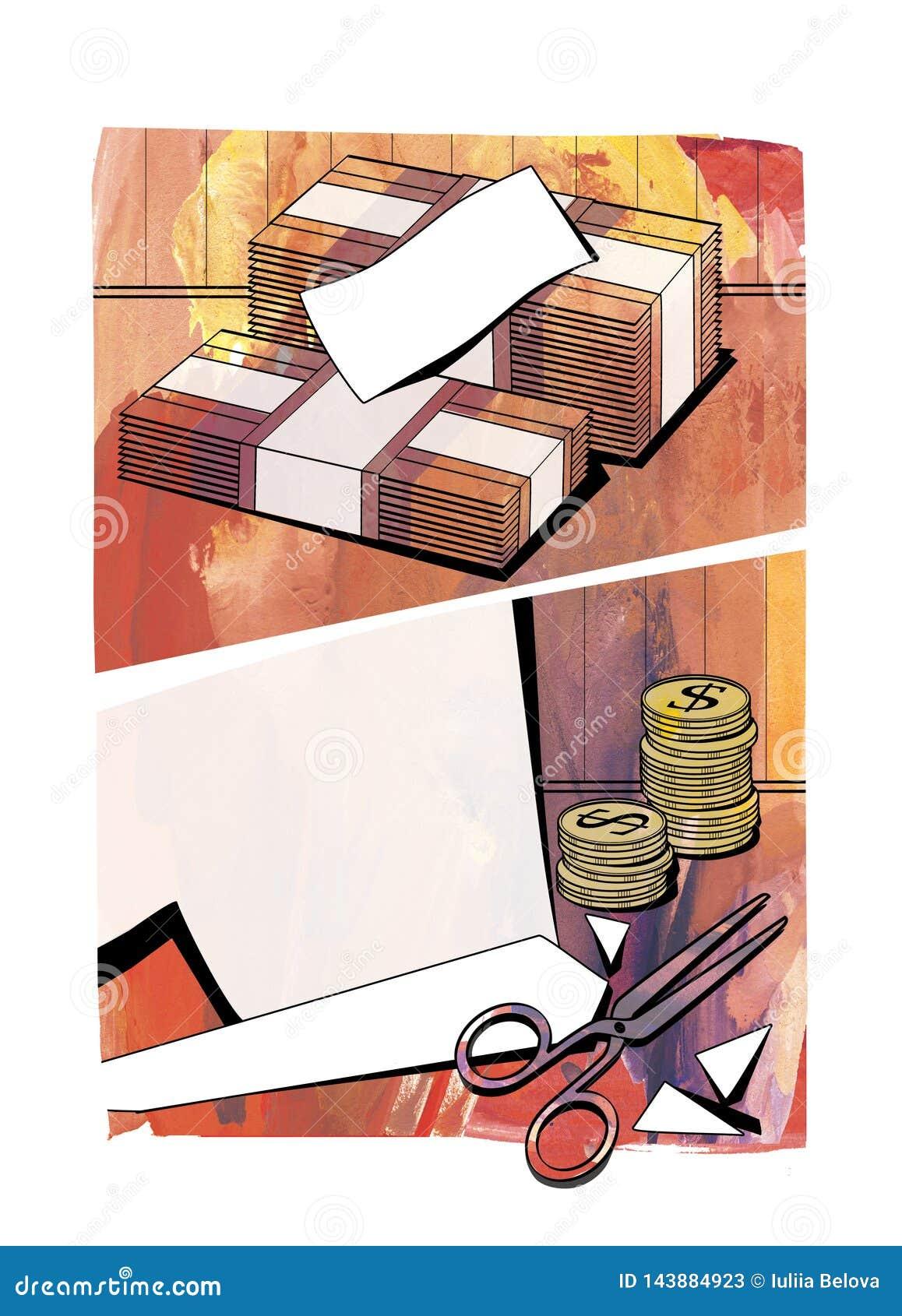 Уменьшение бюджета Бюджетные сокращения - пачки банкнот, столбцы моне