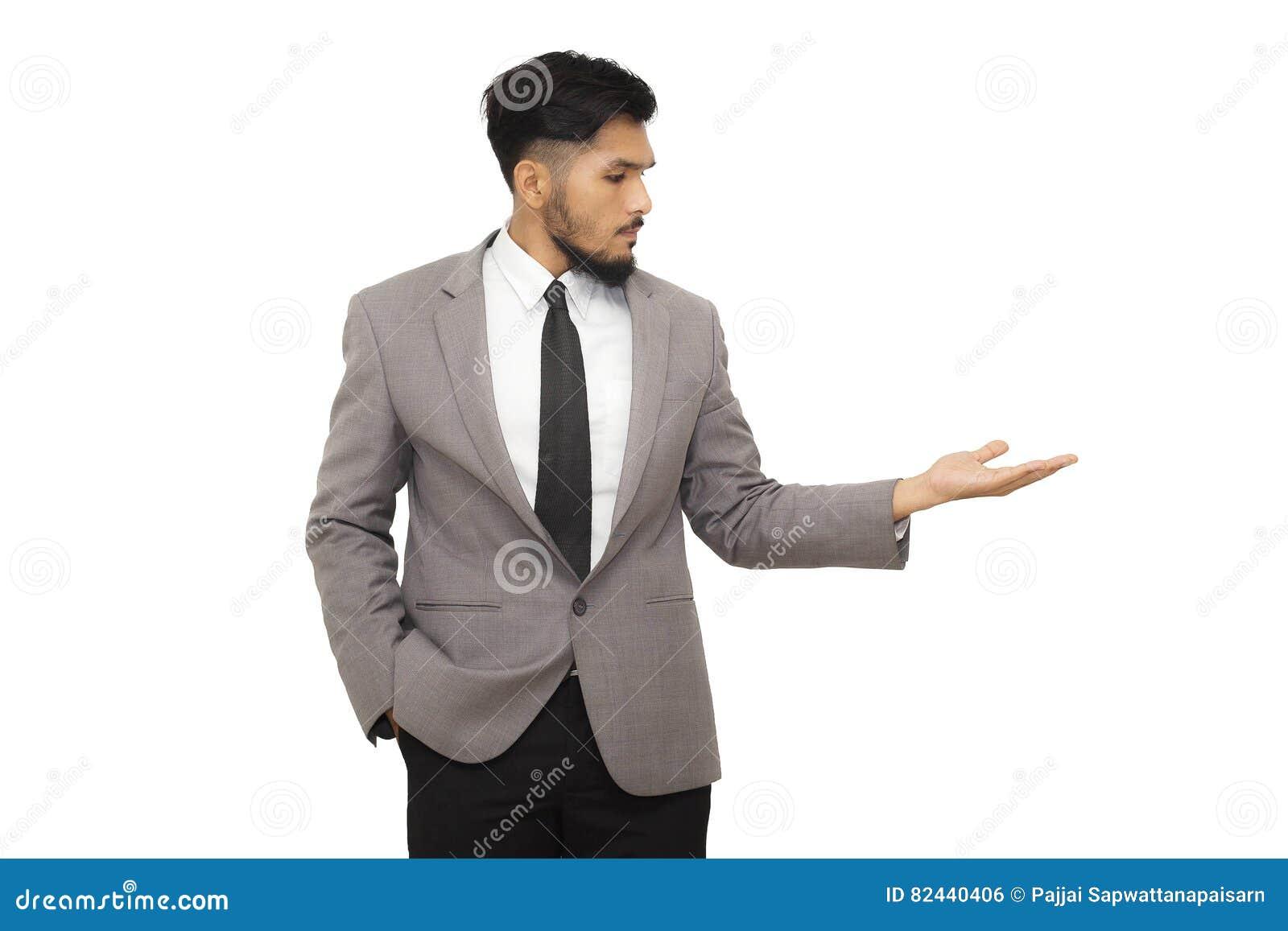 Умный бизнесмен представляя ваш продукт