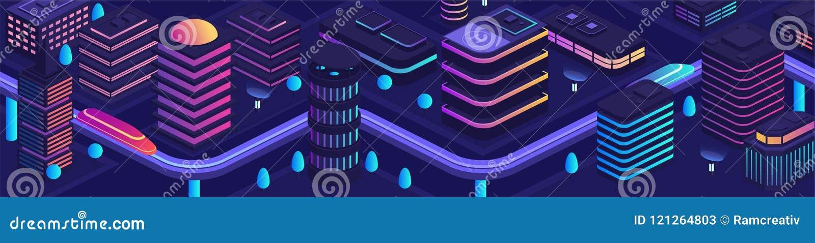 Умный город в футуристическом стиле, город будущего тема иллюстрации делового центра зодчества