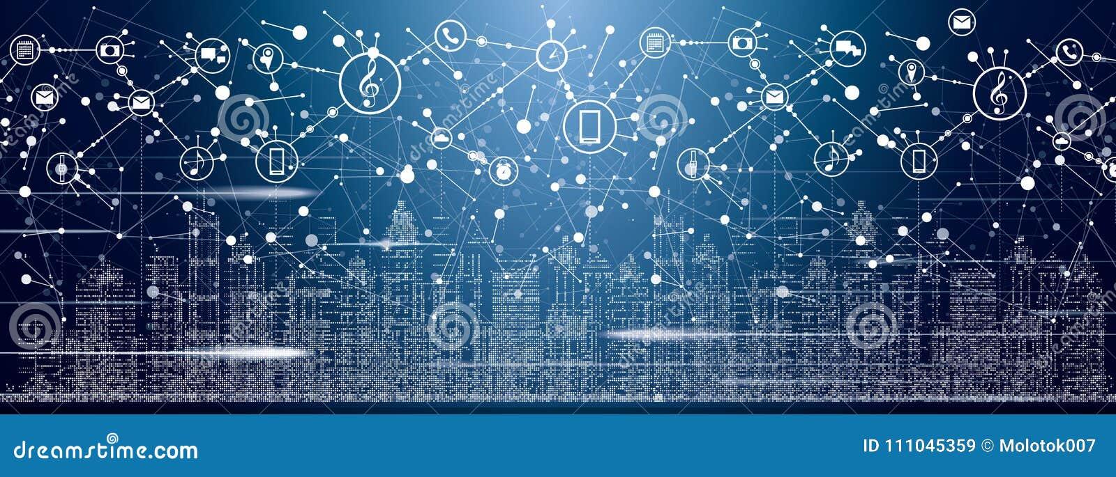 Умный город с неоновыми зданиями, сетями и интернетом вещей