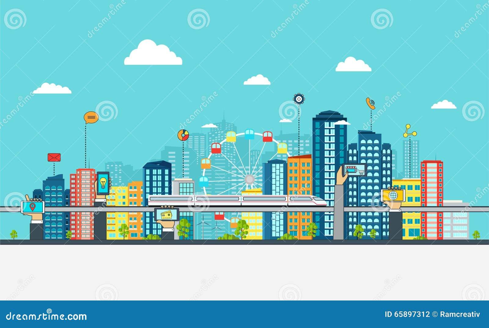 Умный город с знаками дела Он-лайн принципиальная схема дела