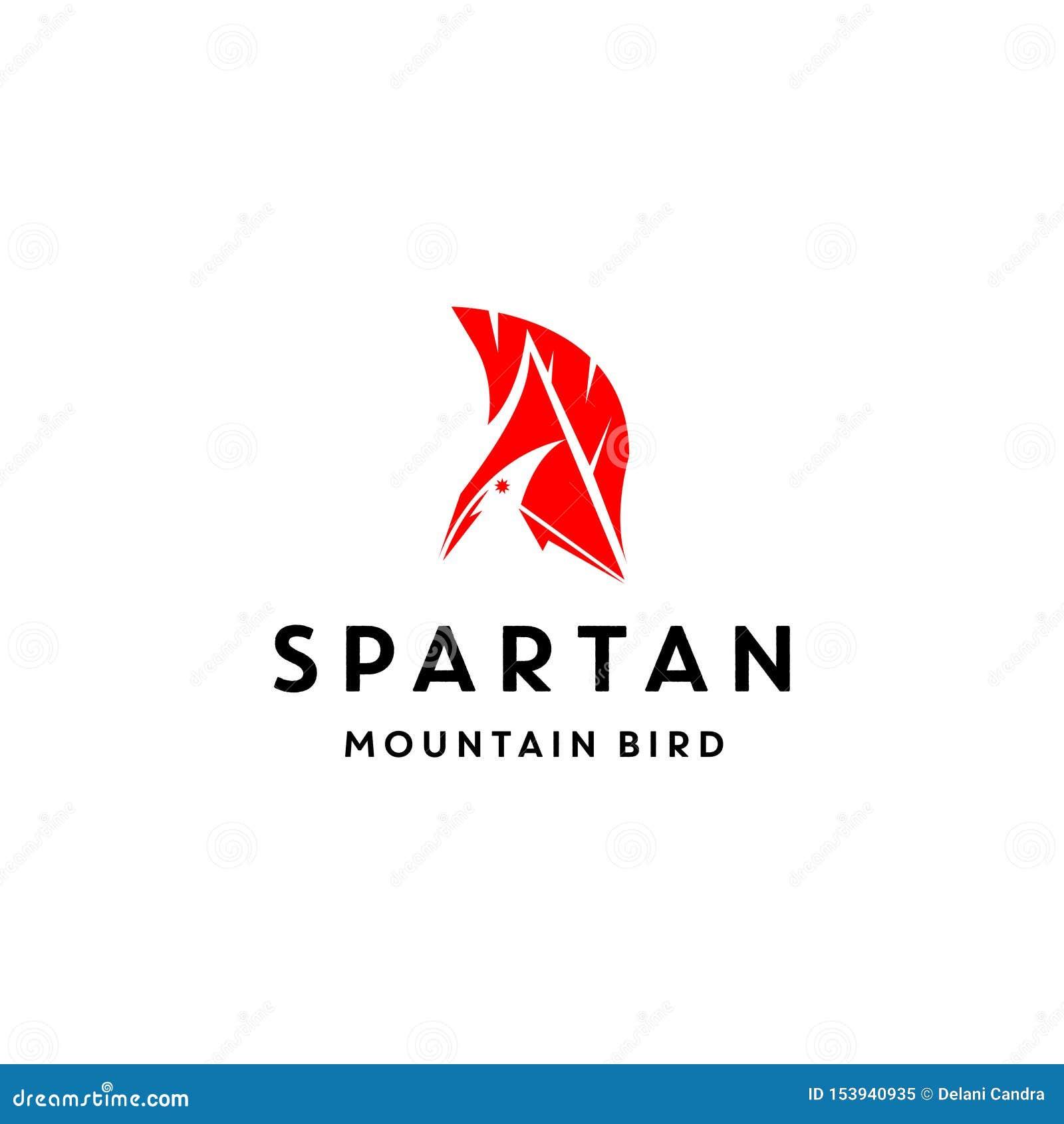 Уникальный дизайн логотипа с птицей, горой и спартанской воодушевленностью иллюстрации значка вектора шлема