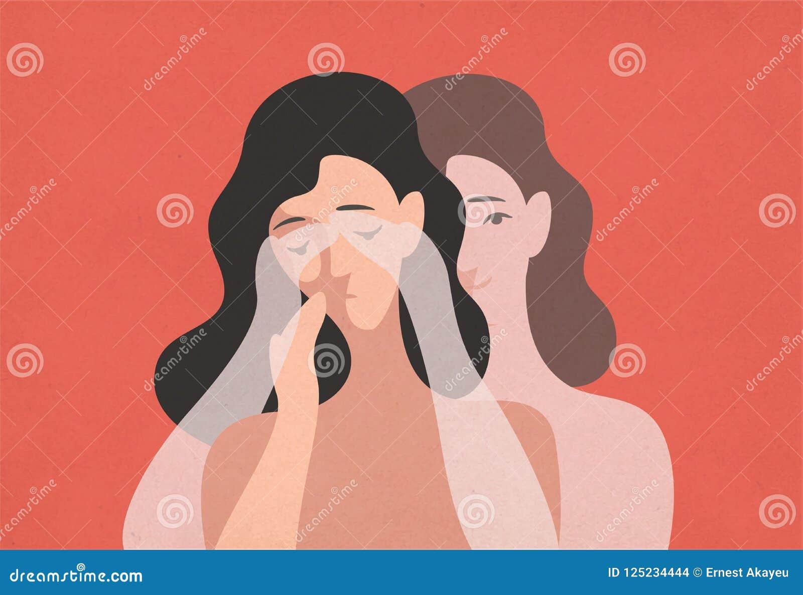 Унылая молодая женщина с пониженной головой и ее призрачным двойным положением позади и заволакивание она глаза с руками Концепци