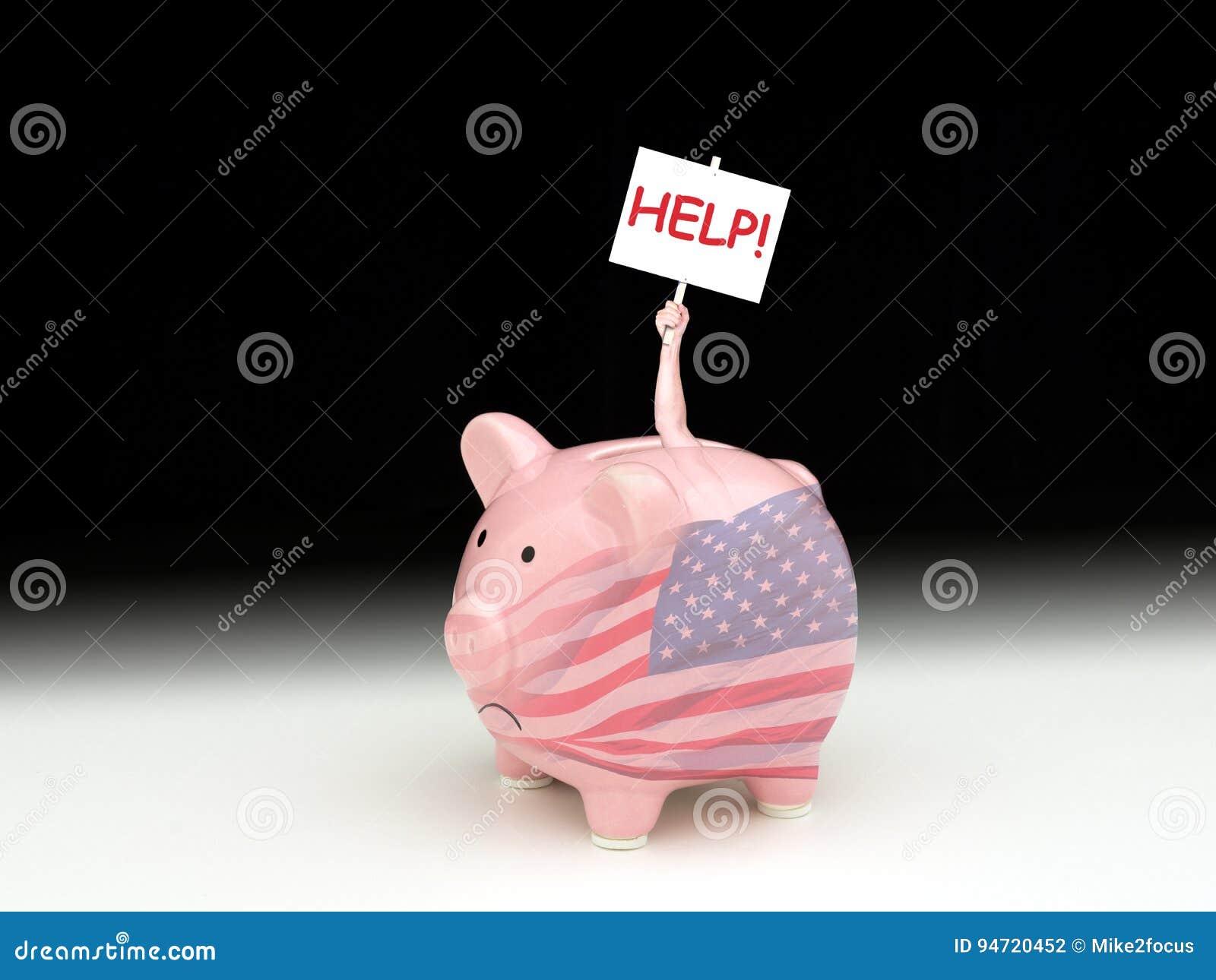 Унылая копилка с американским флагом с ПОМОЩЬЮ задерживать человека внутренней! знак
