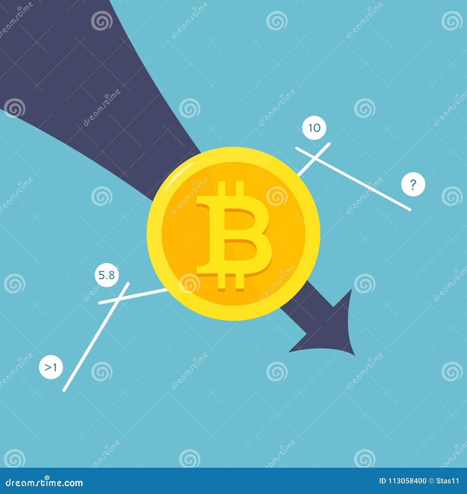 Упаденное в цену Bitcoin летая вниз на красную стрелку Обанкротившийся Bitcoin
