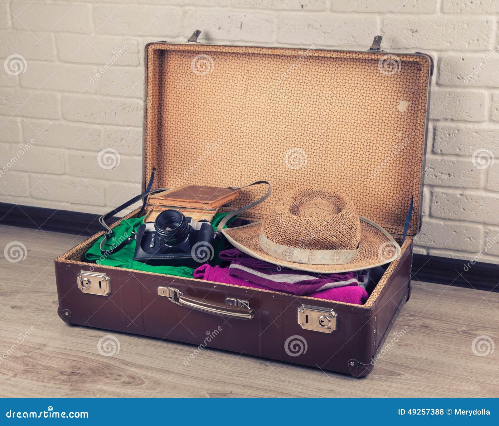упакованный сбор винограда чемодана