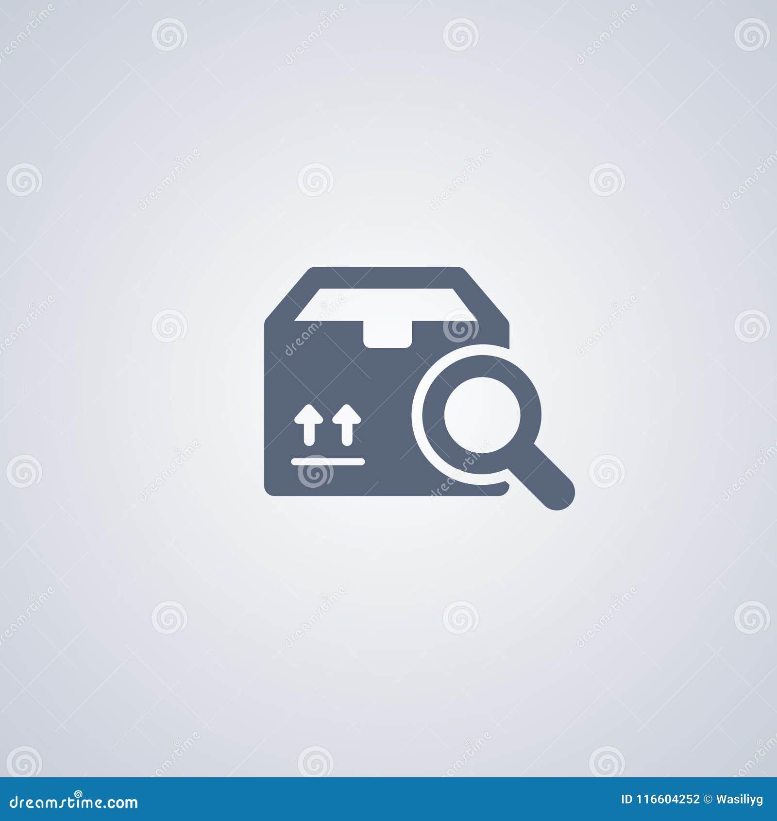 Упакуйте поиск, поиск пакета, vector самый лучший плоский значок