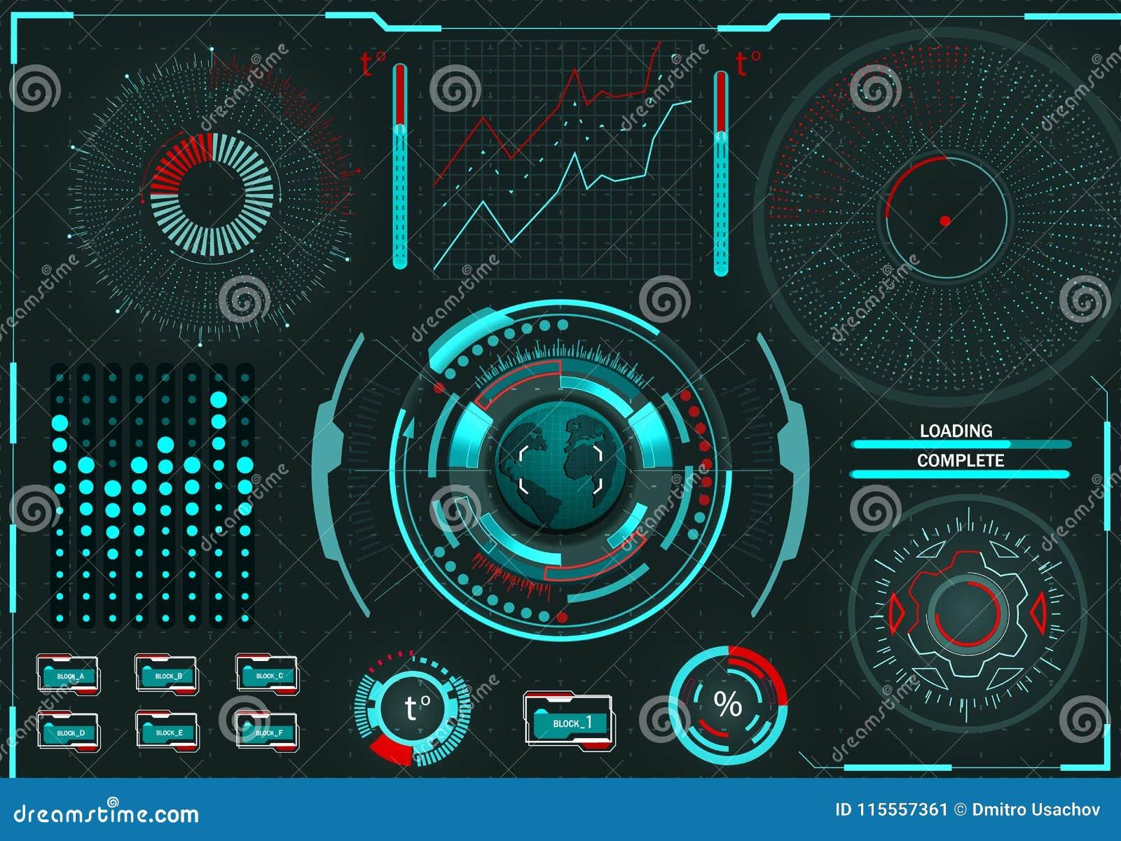 Управление компьютера Диагностическая стойка Виртуальный графический интерфейс, электронная линза, элементы HUD иллюстрация