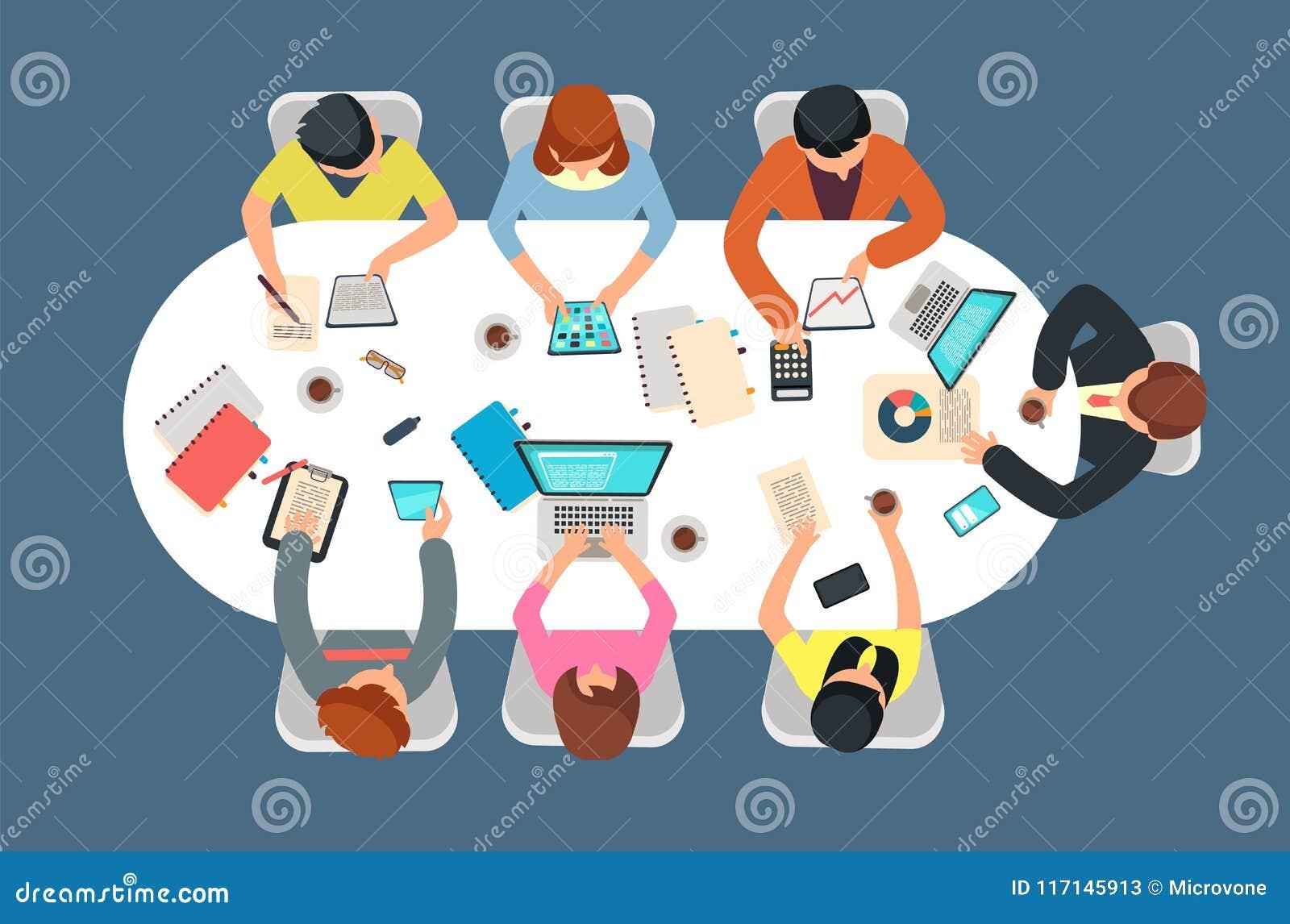 Управляемая команда в встрече офиса на иллюстрации вектора взгляда столешницы Принципиальная схема сыгранности