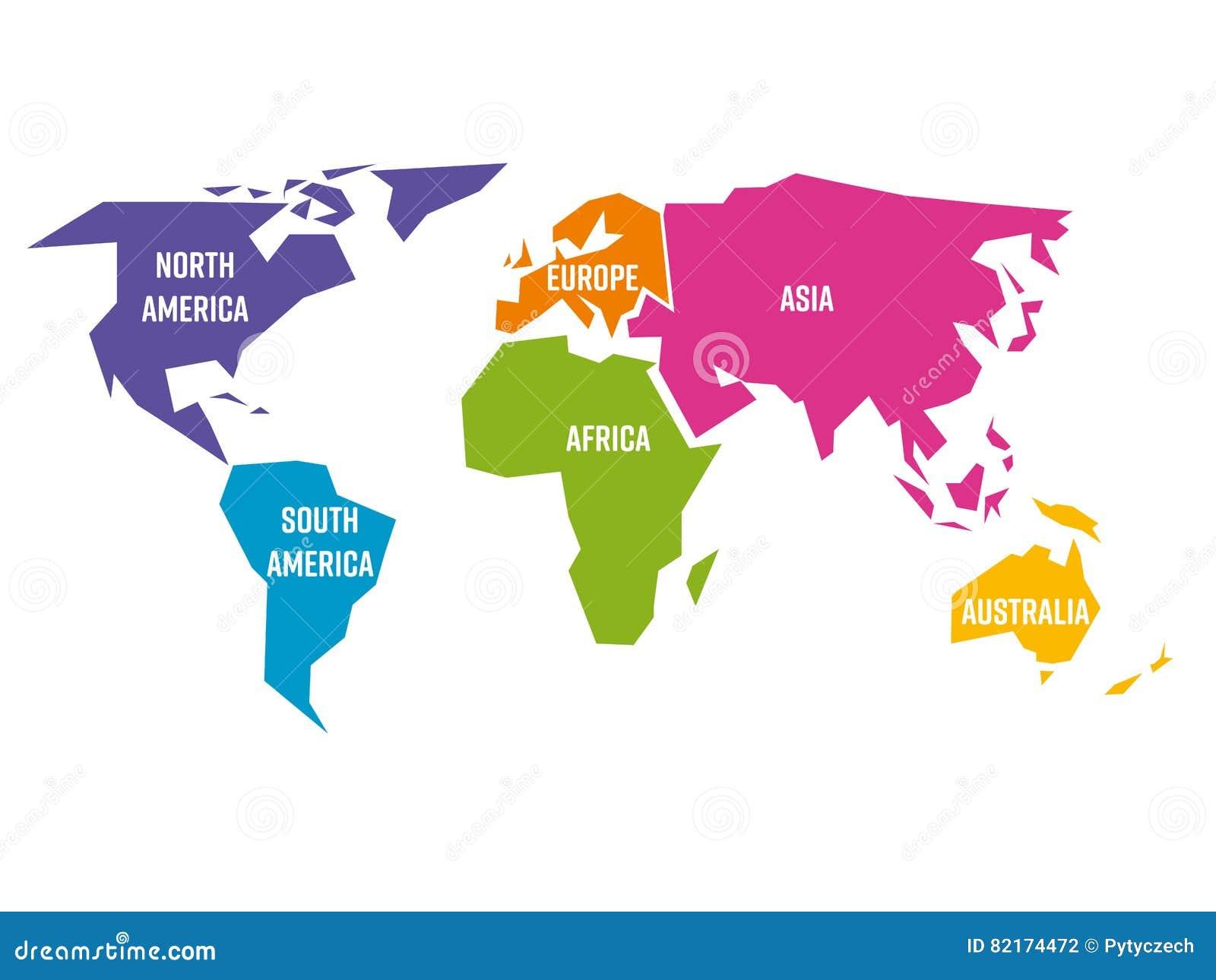Упрощенная карта мира разделенная до 6 континентов в других цветах Простая плоская иллюстрация вектора