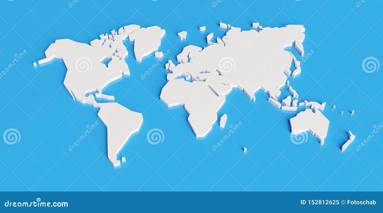Упрощенная карта мира, 3d представить