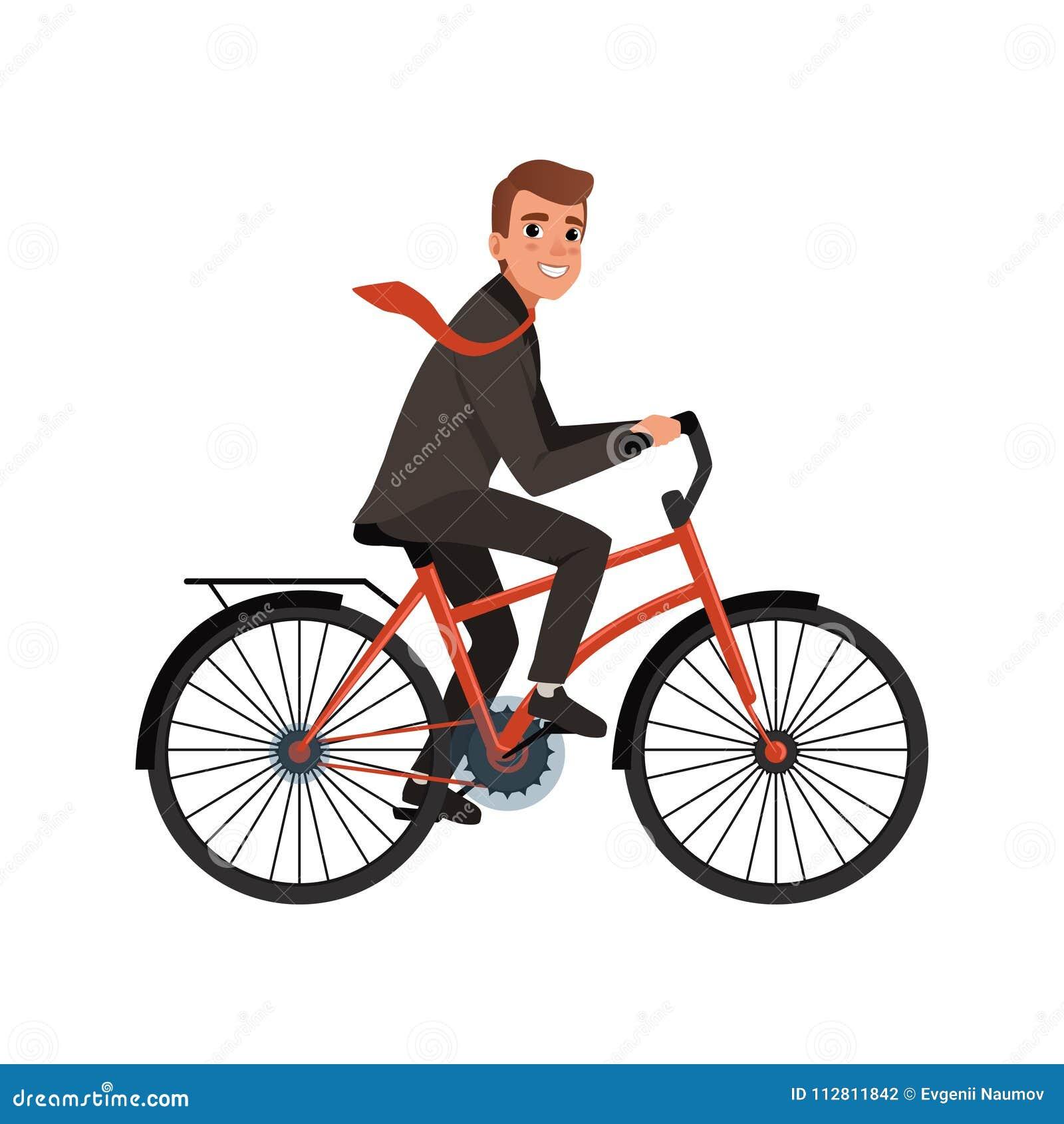 Усмехаясь велосипед катания бизнесмена, который нужно работать дружественный к Эко транспорт Персонаж из мультфильма молодого раб