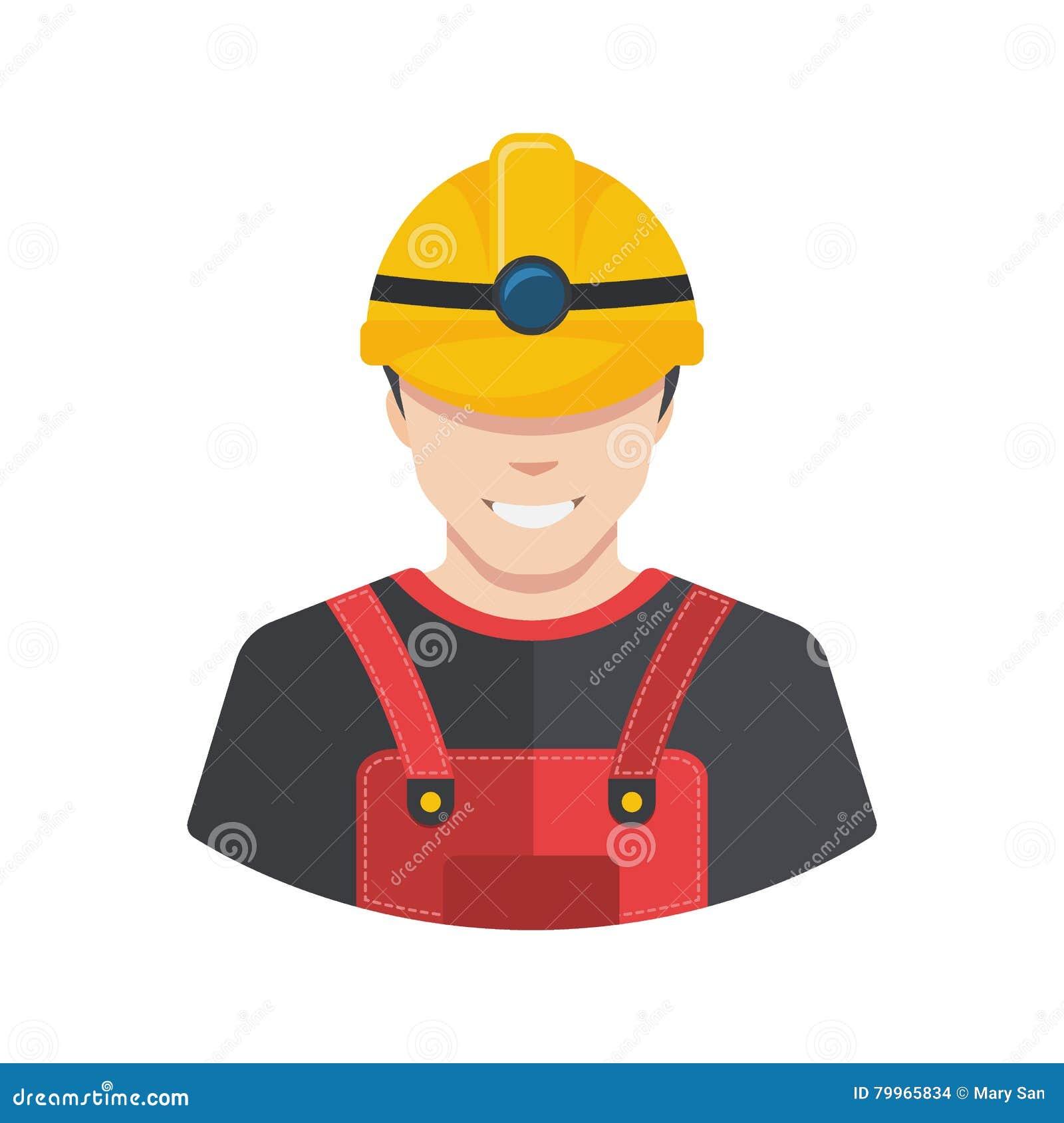 Усмехаясь воплощение значка построителя рабочий-строителя плоско