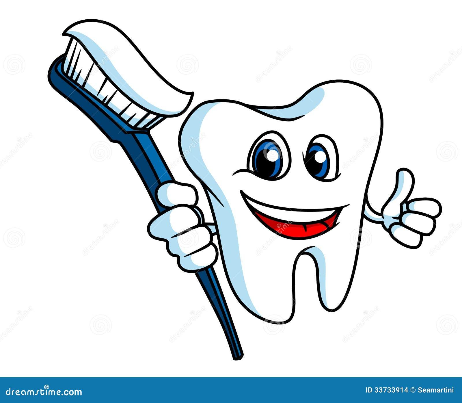 Усмехаясь зуб с зубной щеткой