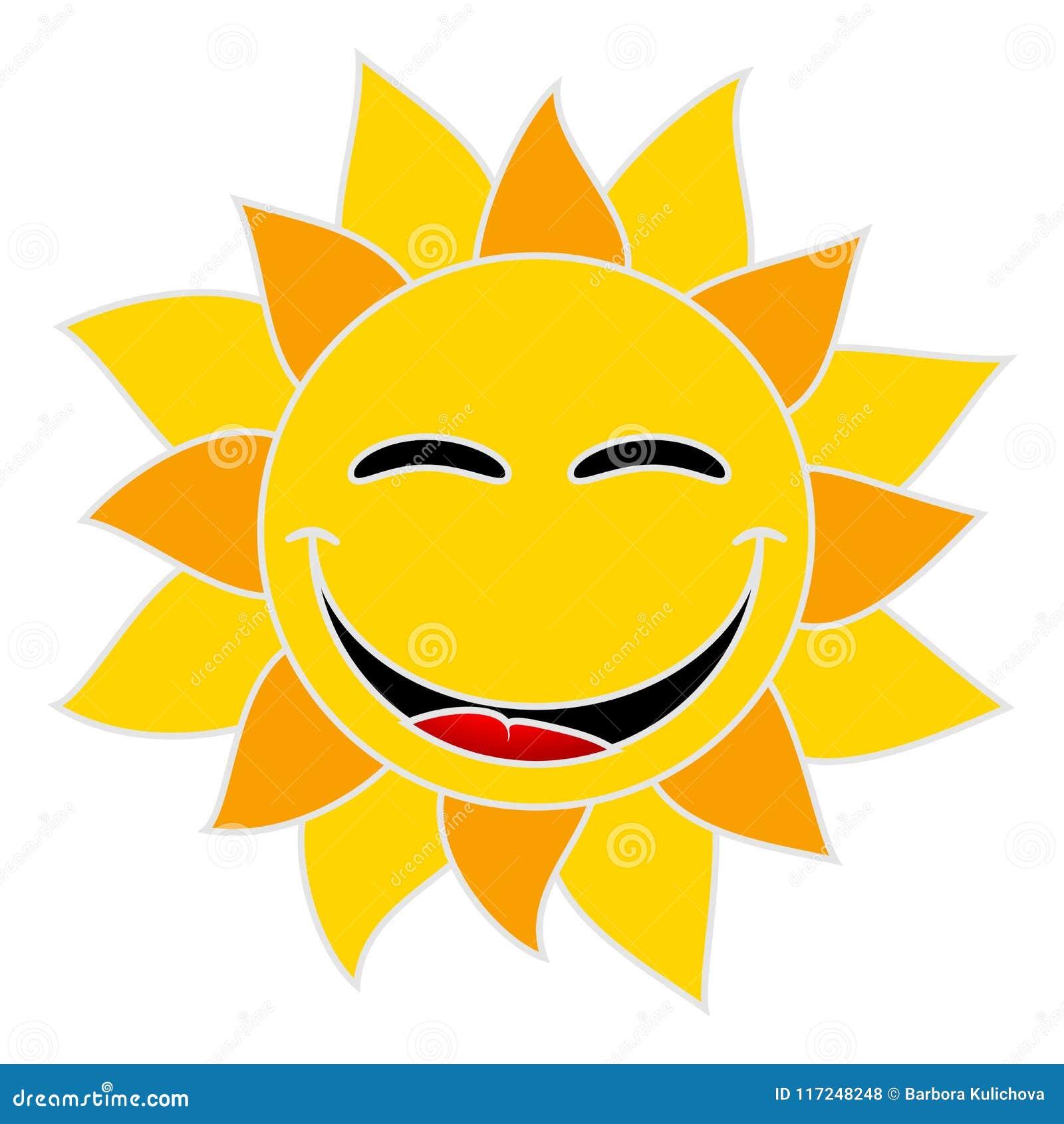 Усмехаясь солнце на белой предпосылке