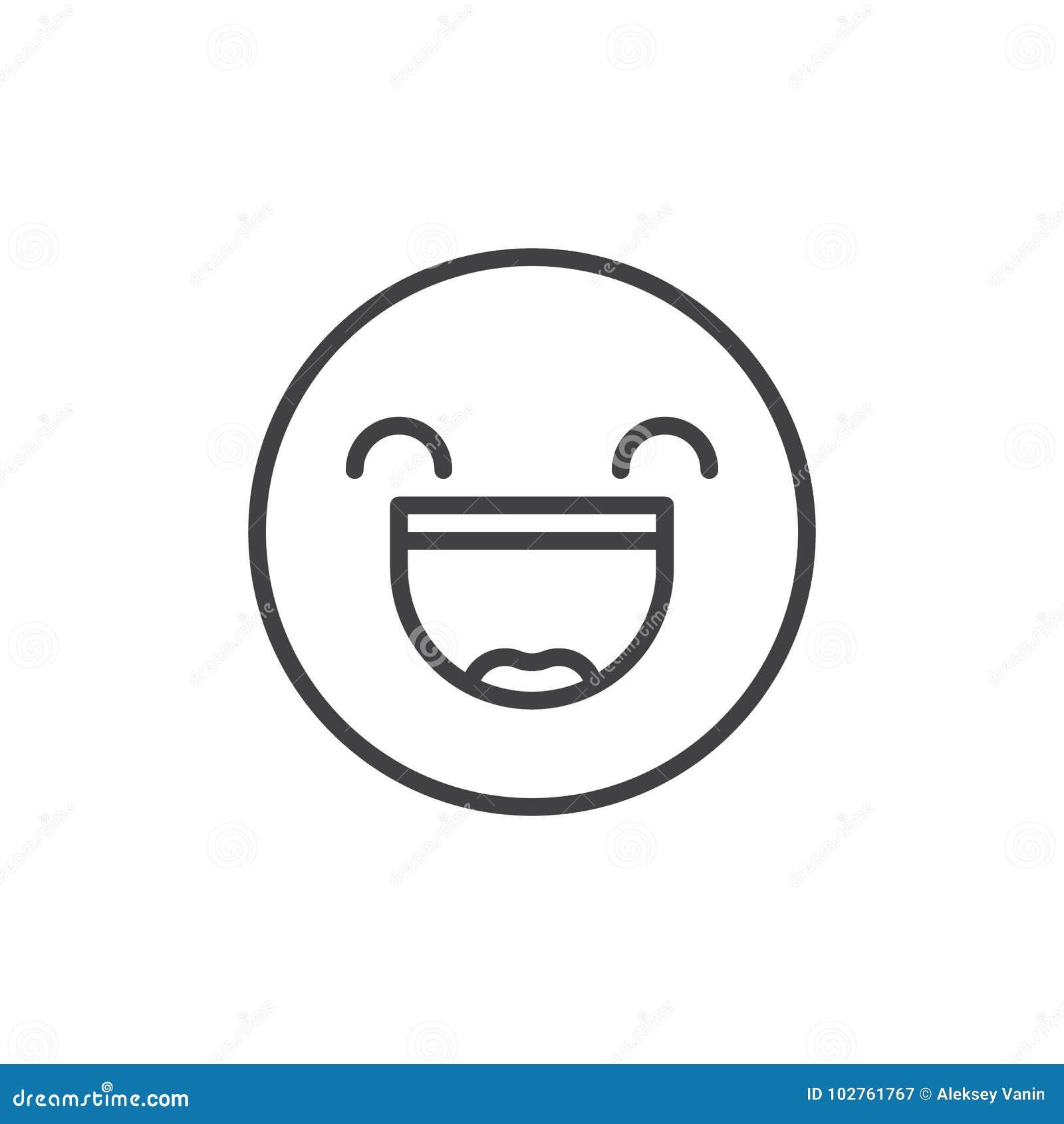 Усмехаясь сторона с открытым ртом и усмехаться наблюдает линия значок смайлика