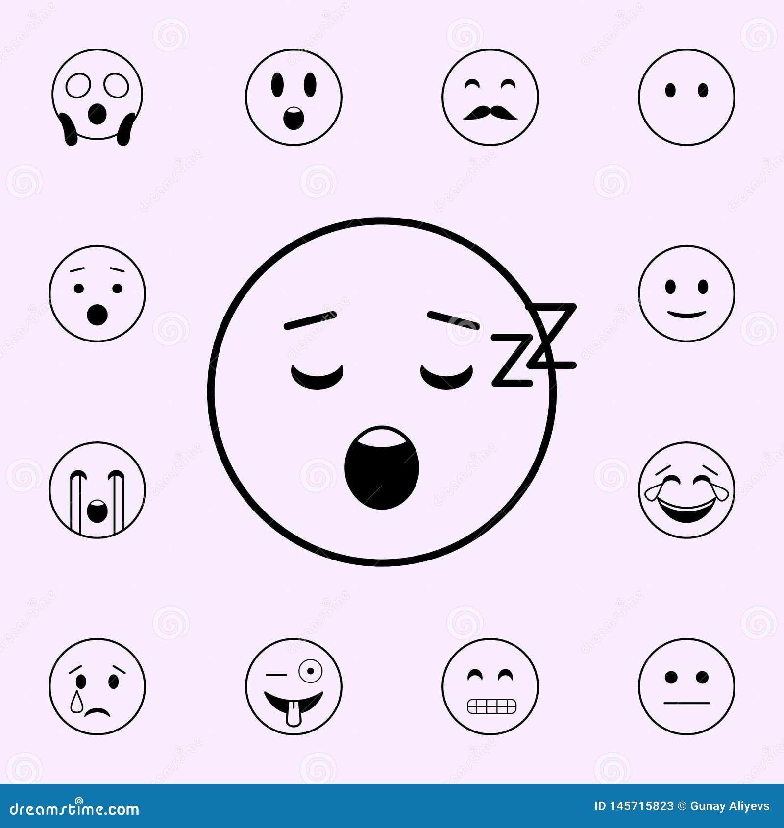 уснувший значок Набор значков Emoji всеобщий для сети и черни