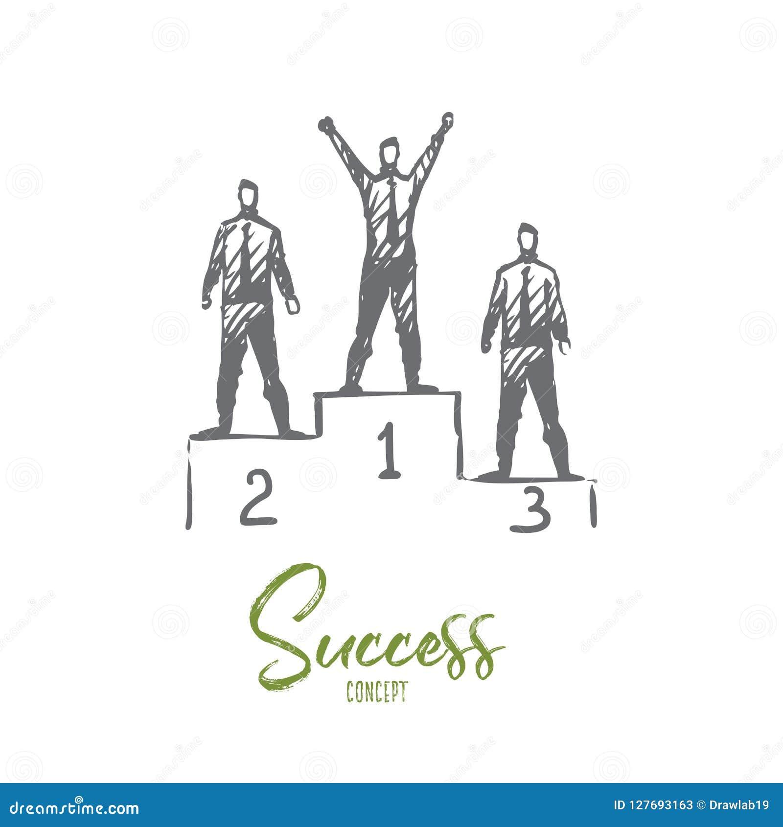 Успех, достижение, победитель, руководитель, концепция награды Вектор нарисованный рукой изолированный