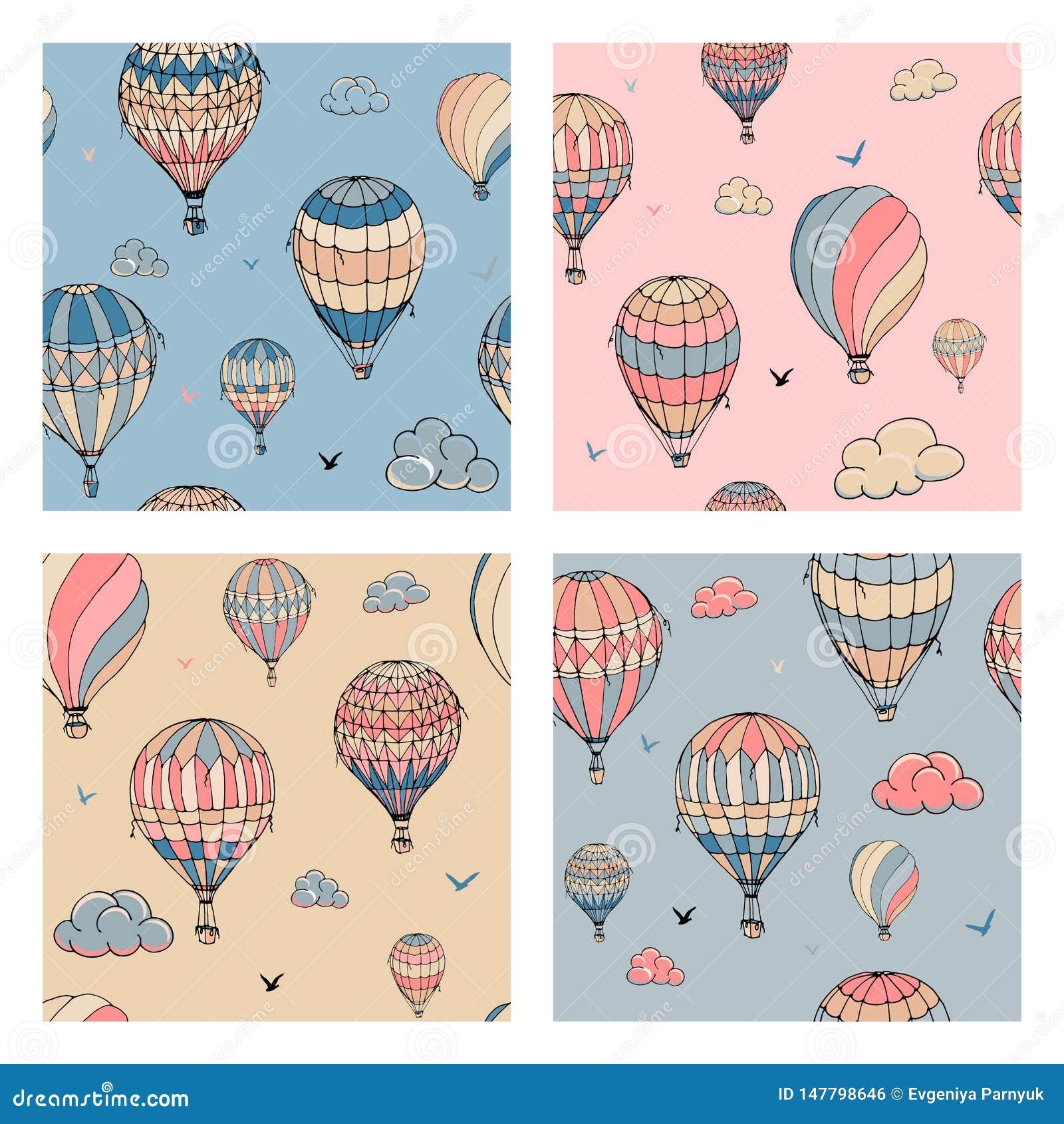 Установите безшовной картины с воздушными шарами в пастельных цветах Много по-разному покрашенных striped воздушных шаров летая в