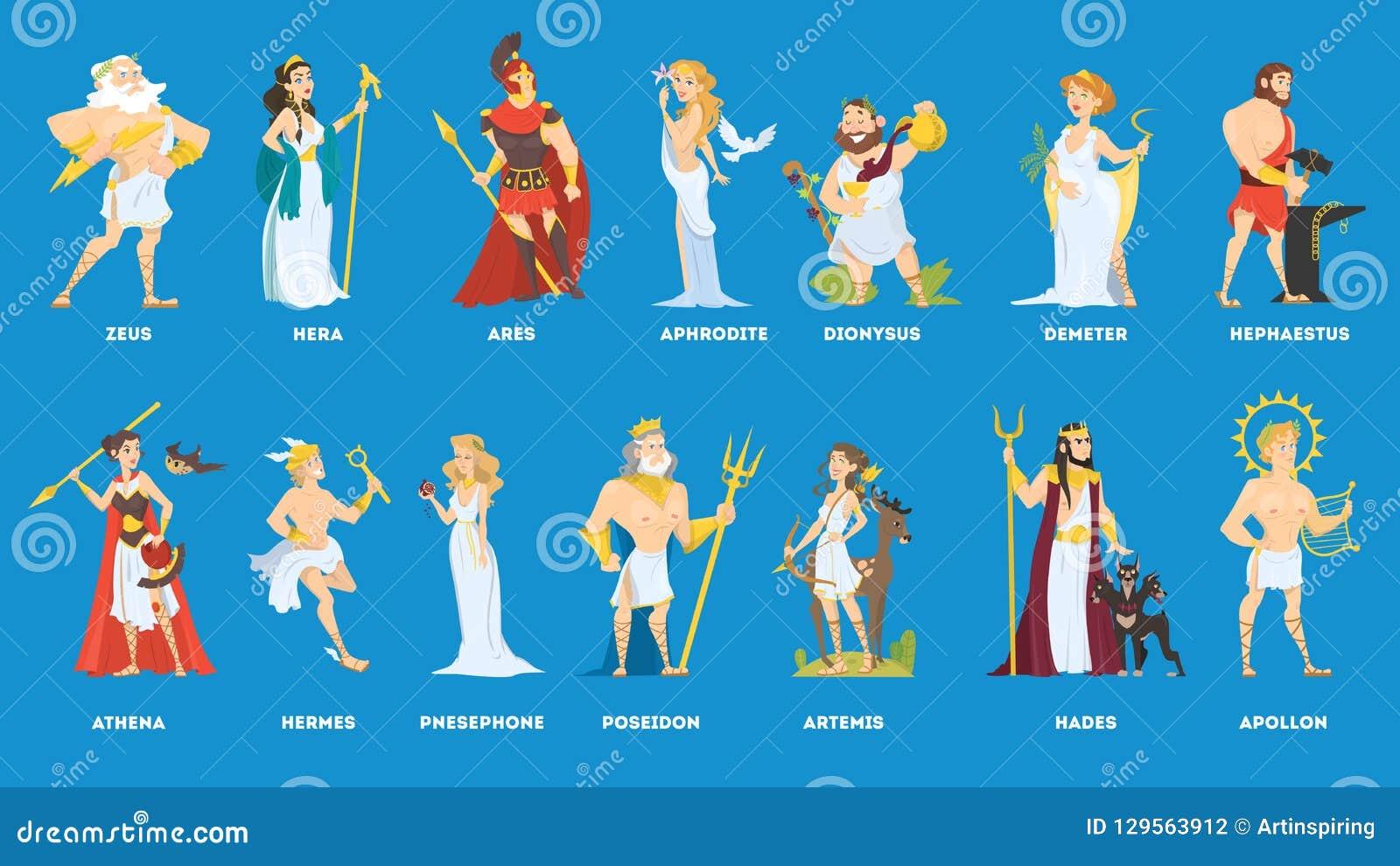 Установите богов и богини олимпийца греческих