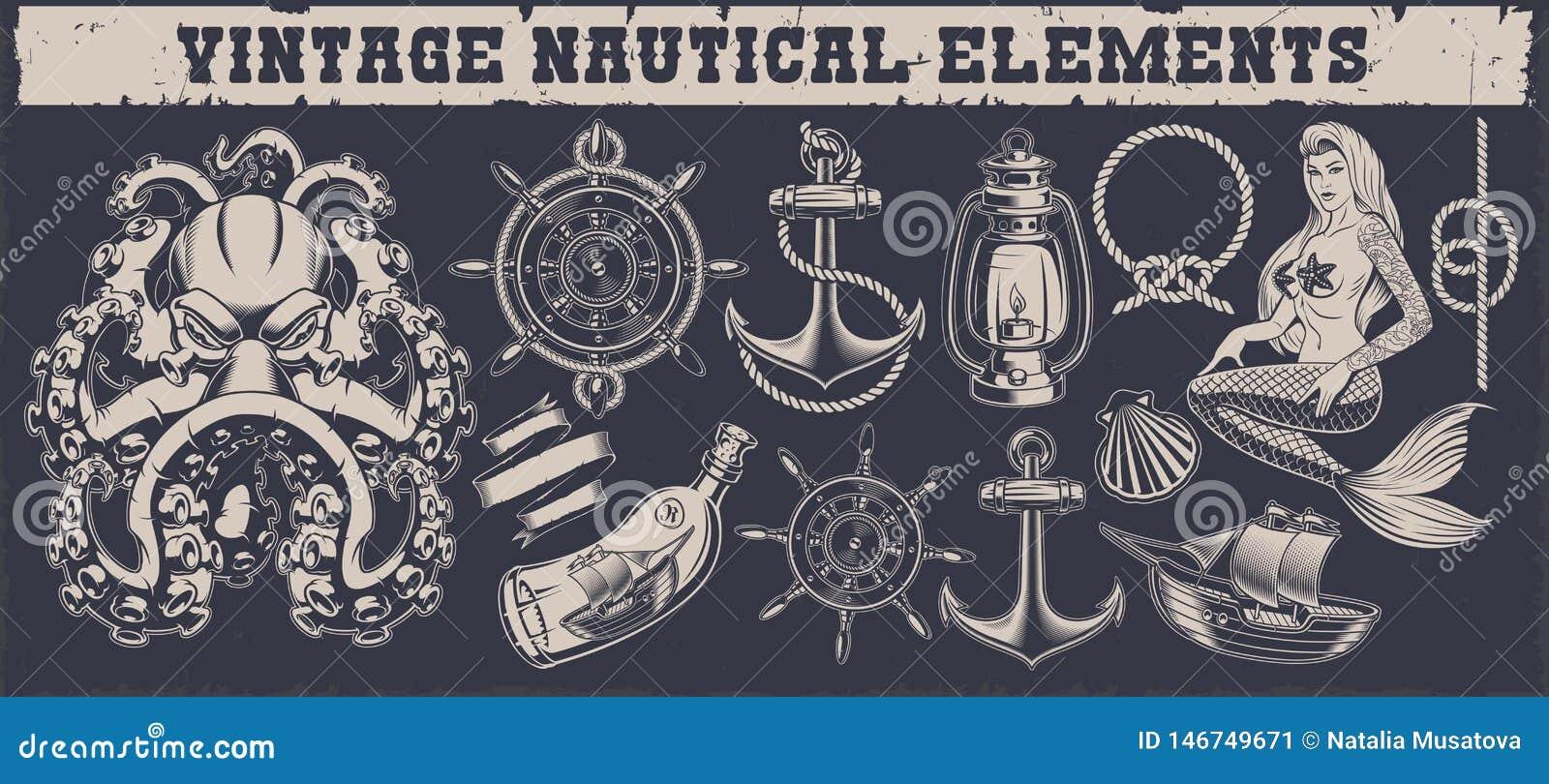 Установите винтажные морские элементы на темной предпосылке
