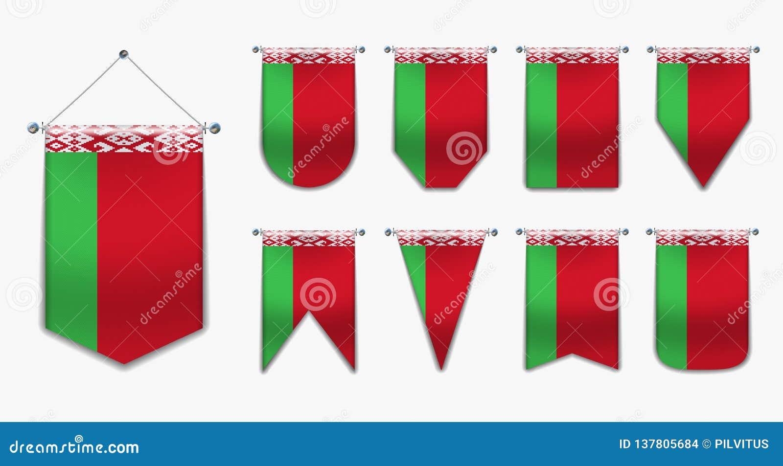 Установите вися флагов БЕЛАРУСИ с текстурой ткани Формы разнообразия страны национального флага Вертикальный вымпел шаблона