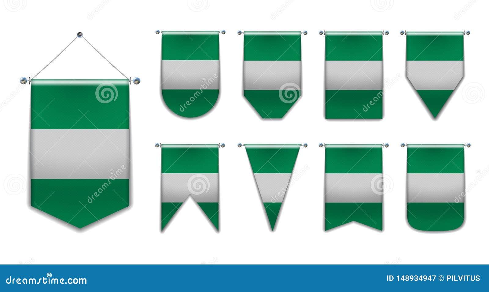 Установите вися флагов Нигерии с текстурой ткани Формы разнообразия страны национального флага r