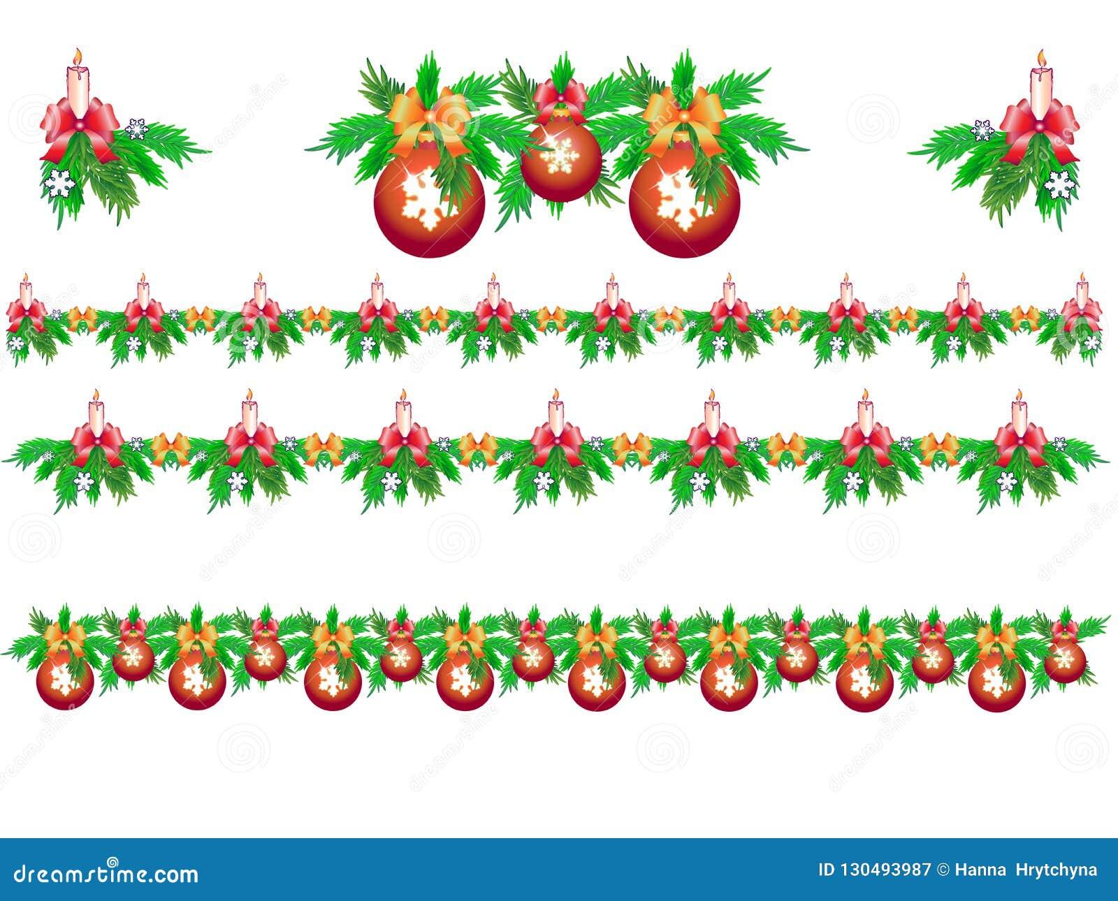 Установите гирлянд рождества ели со свечами, снежинками и шариками рождества